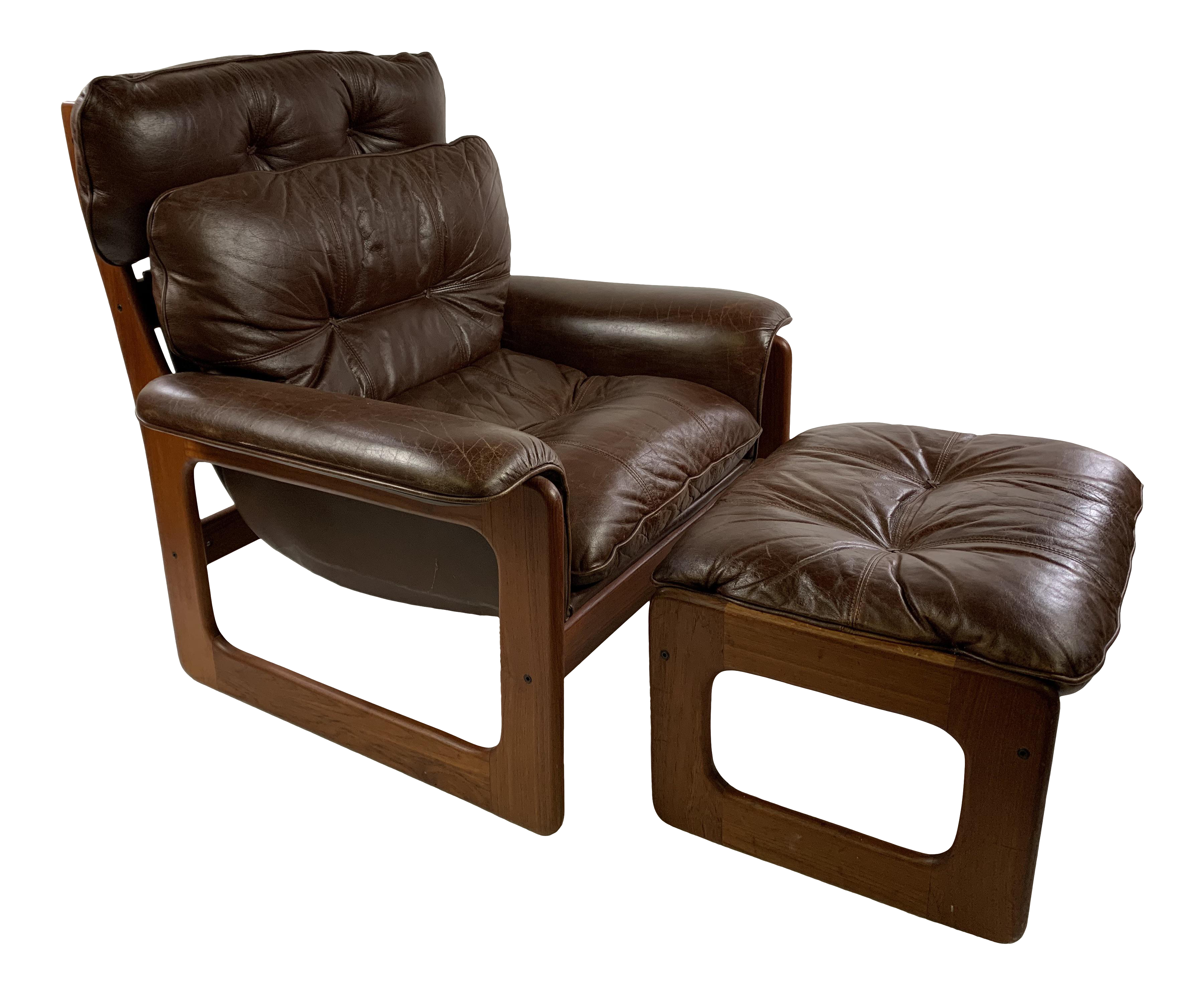 Mid Century Danish Teak Leather Lounge Sling Chair Foot Stool