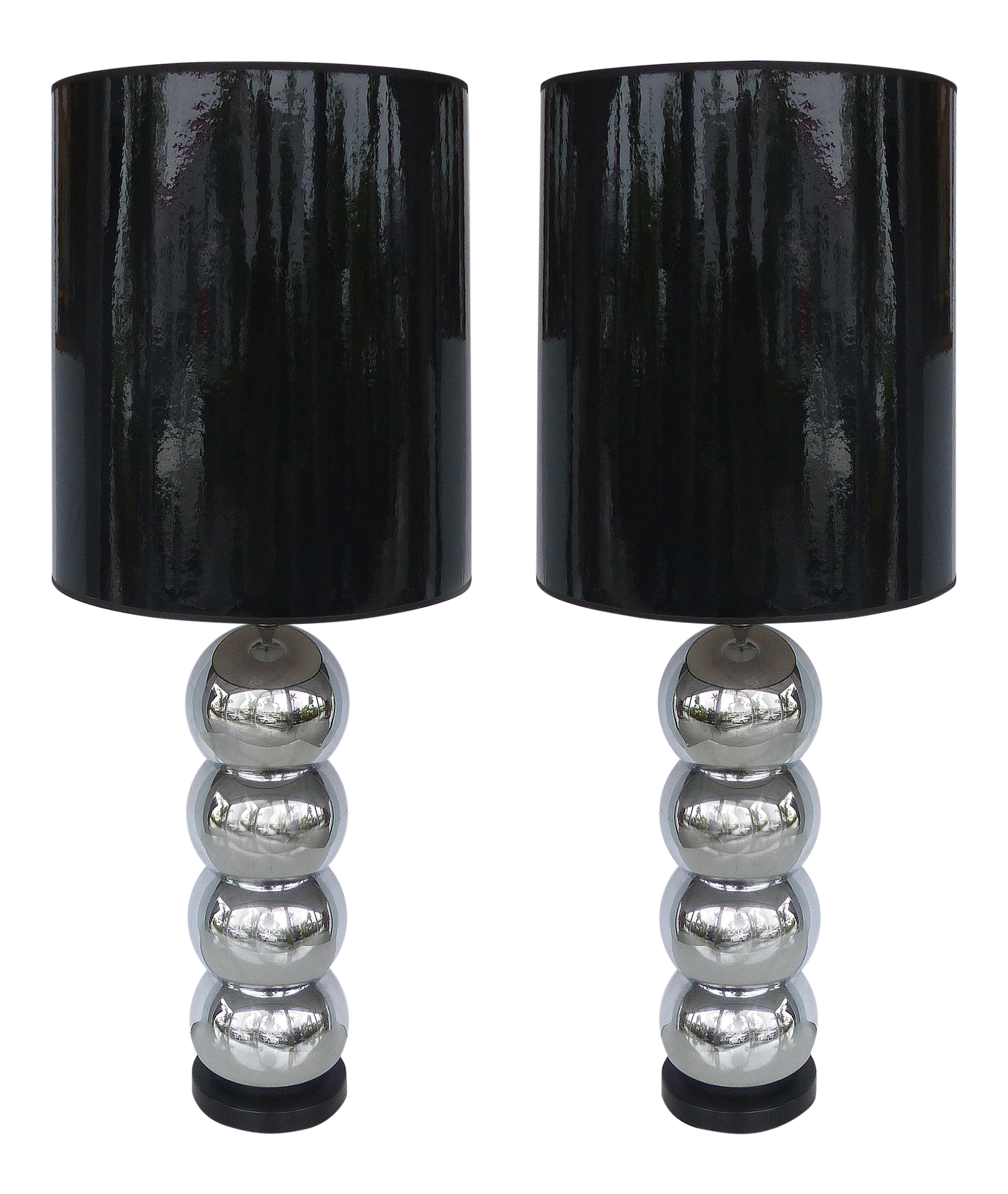 George Kovacs Stacked Ball Table Lamps With Gloss Shades A Pair