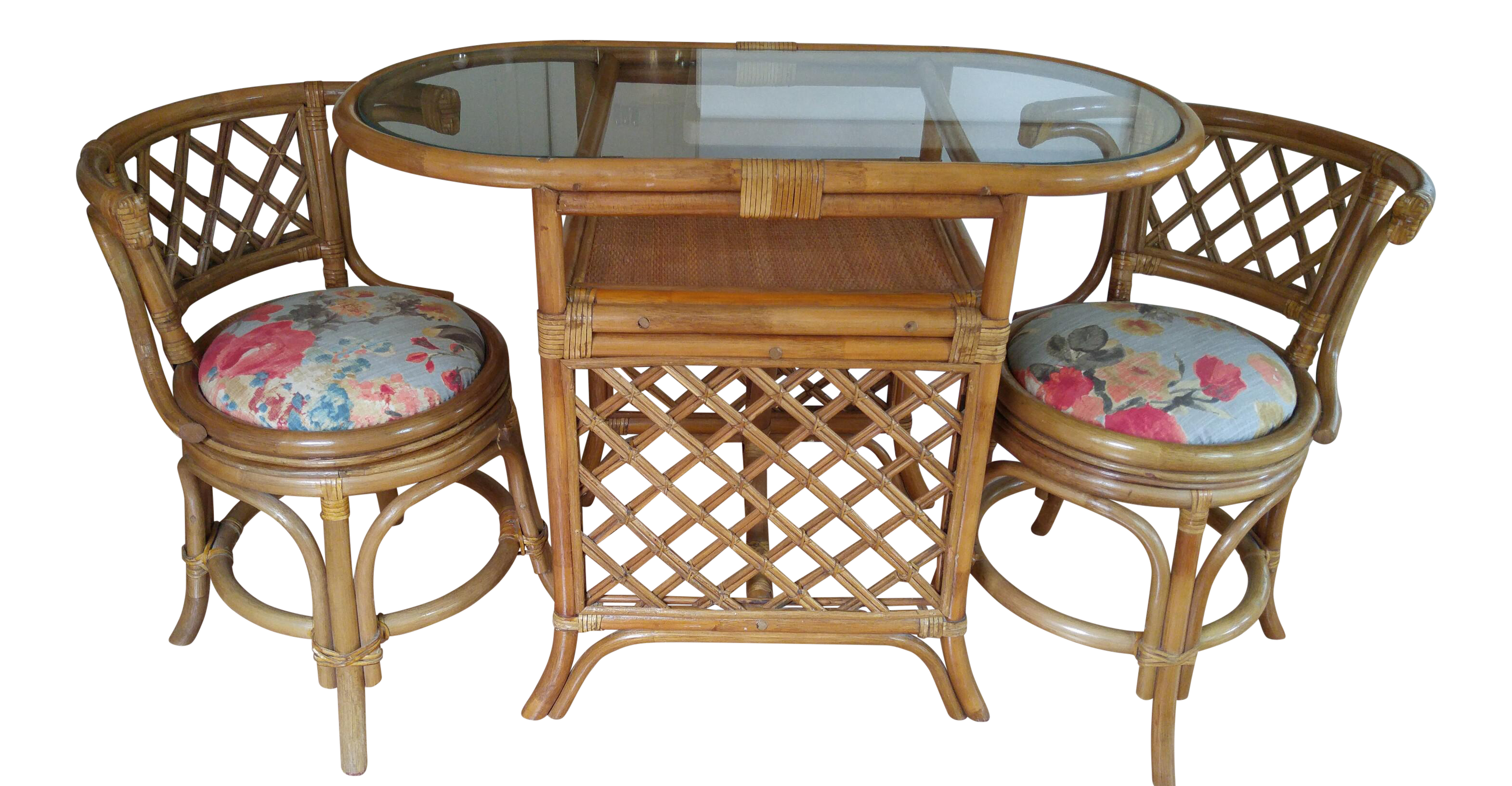 Vintage Bamboo Game Table & Chairs Set | Chairish