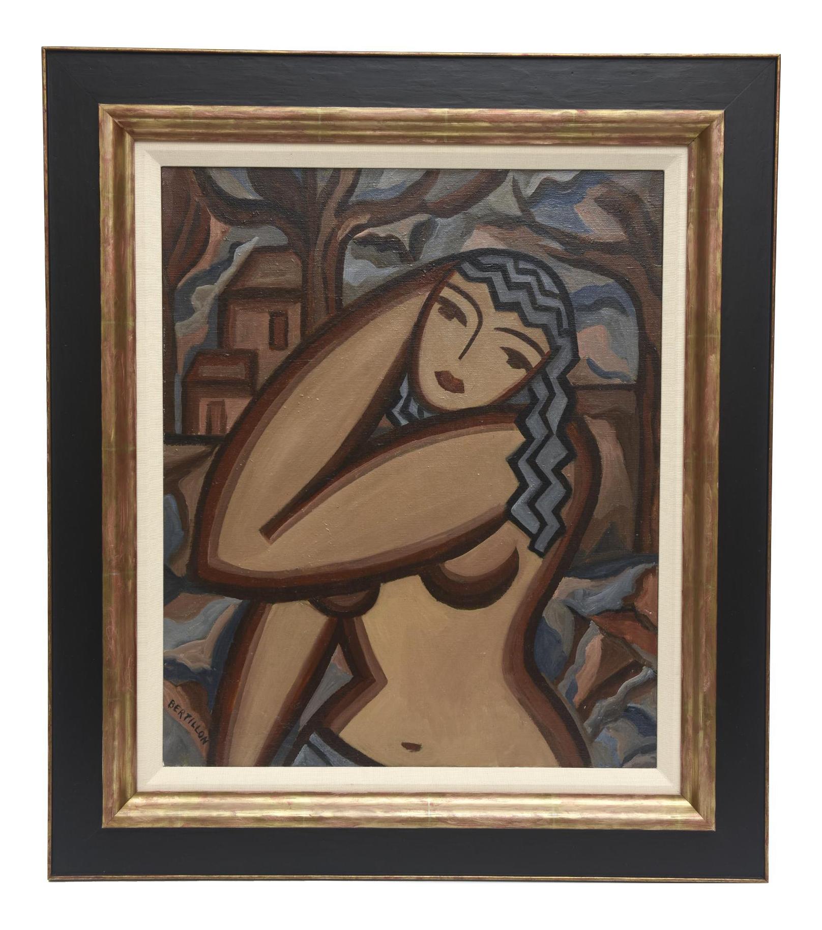 Superb Signed French Suzanne Bertillon Art Deco Oil On Canvas Custom ...