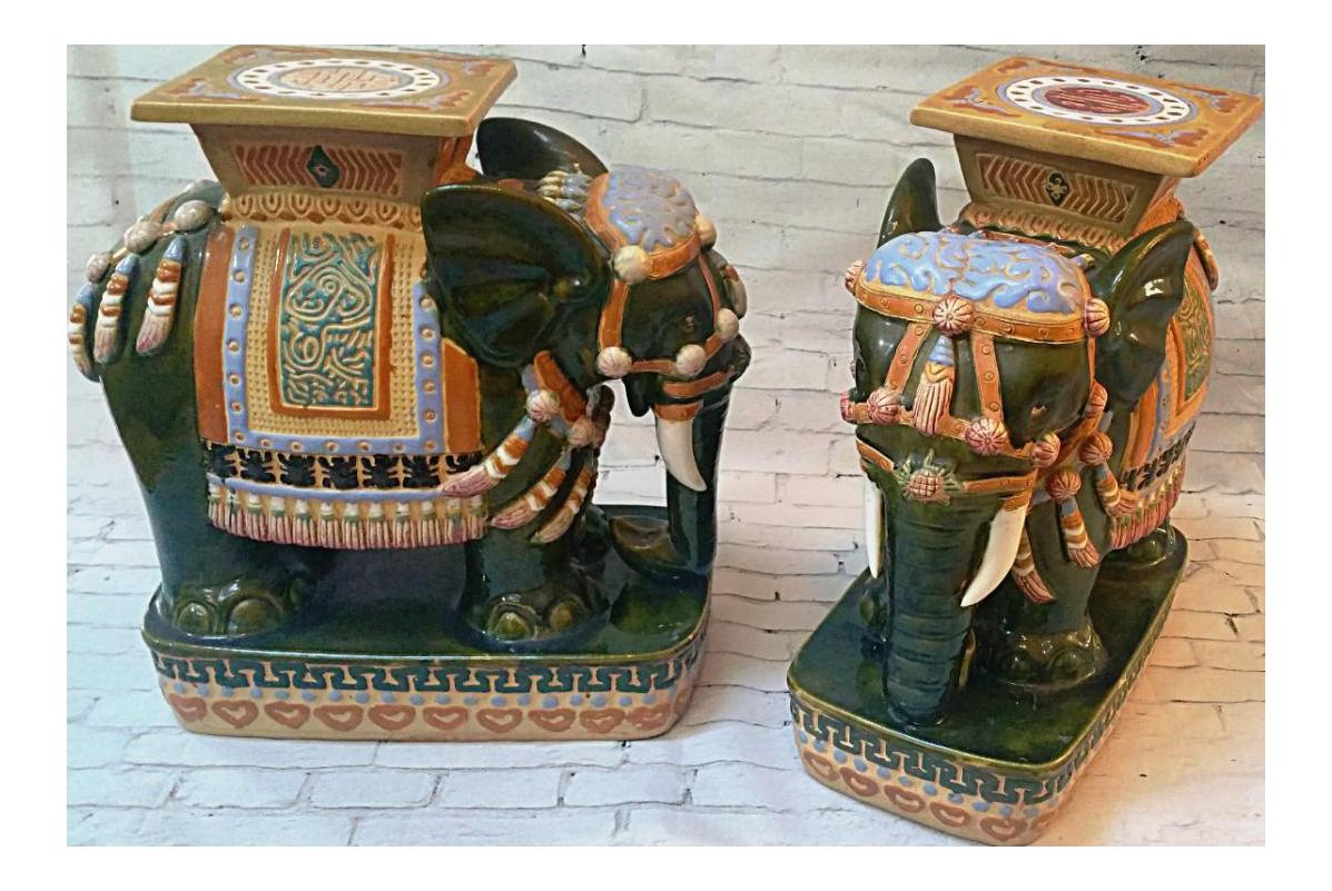 Nice Vintage Ceramic Elephant Garden Stools #17 - Chairish