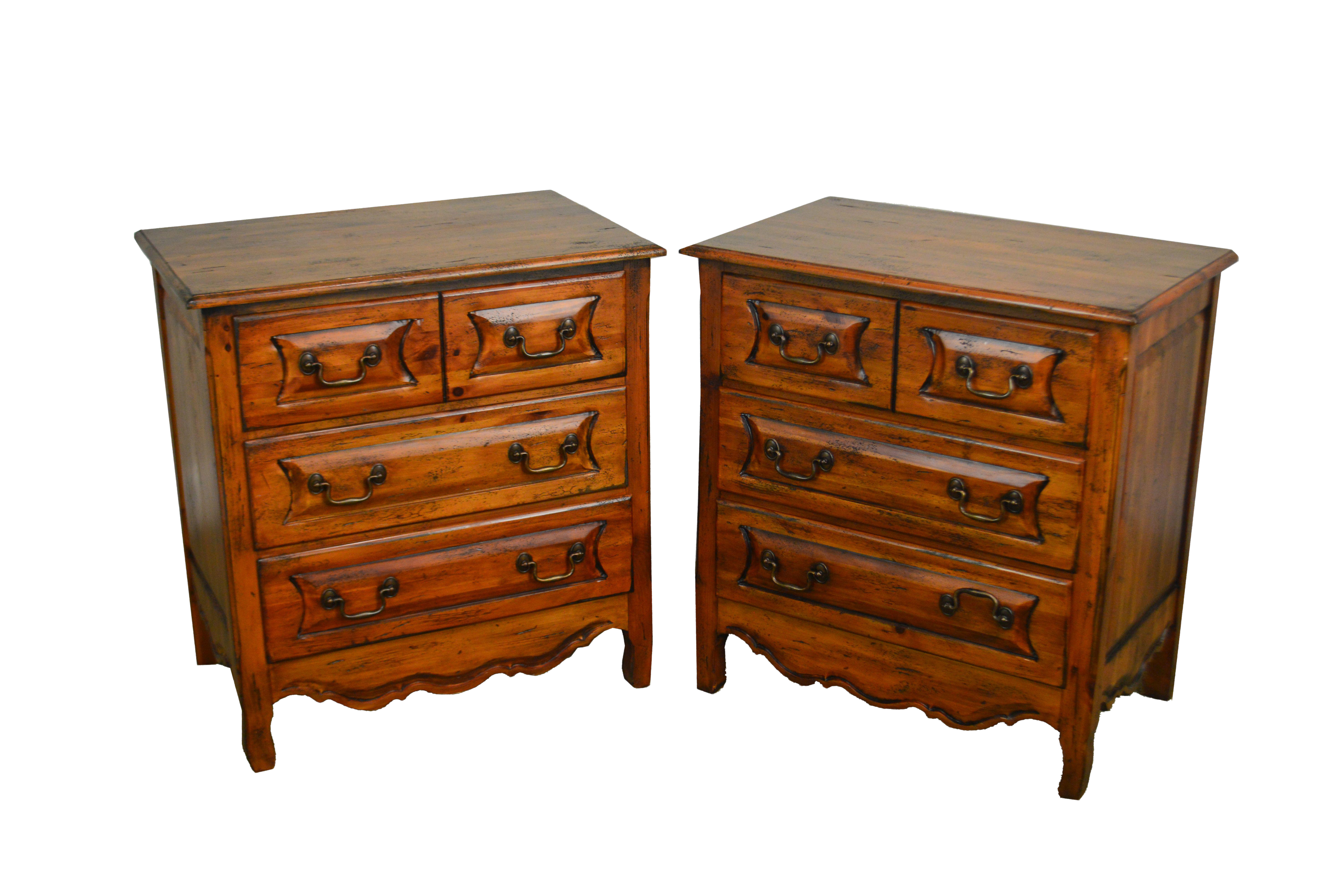 Habersham Plantation Distressed Pine French Country Style Chests Nightstands A Pair