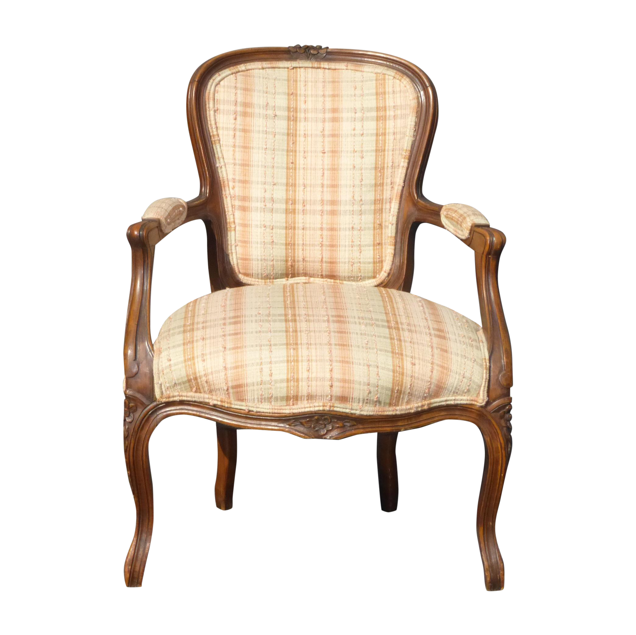 french provincial carved plaid accent arm chair chairish rh chairish com Buffalo Plaid Accent Chair Buffalo Plaid Accent Chair