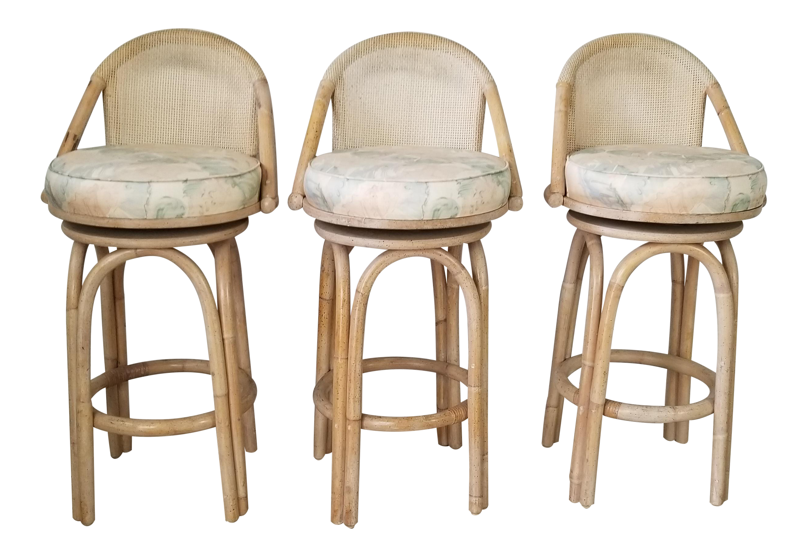 Set Of Three Vintage Bamboo And Cane Back Swivel Bar Stools Chairish