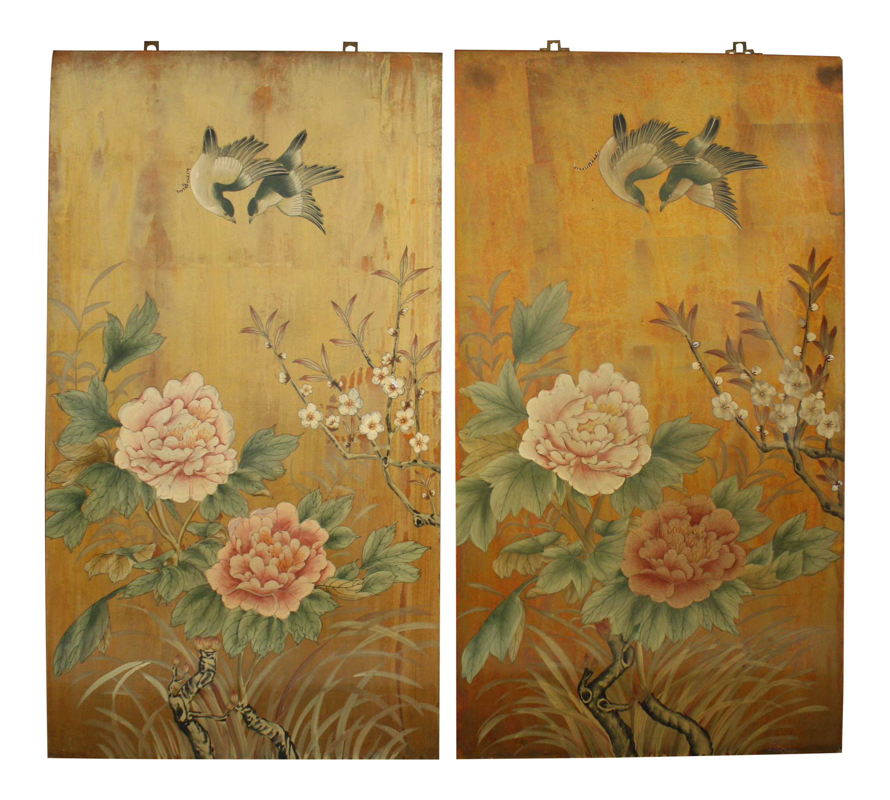 Vintage Decorative Chinese Chinoiserie Wall Panels, a Pair | Chairish