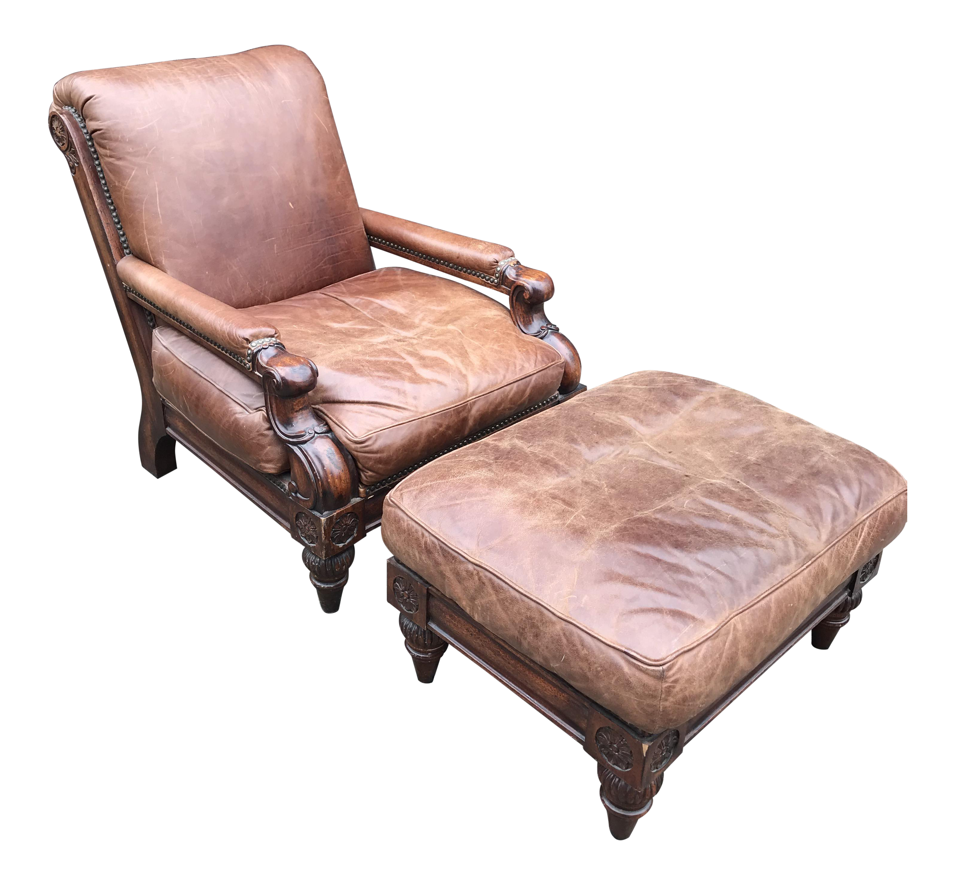Cool Stickley Cibola Leather Club Chair With Ottoman A Pair Alphanode Cool Chair Designs And Ideas Alphanodeonline