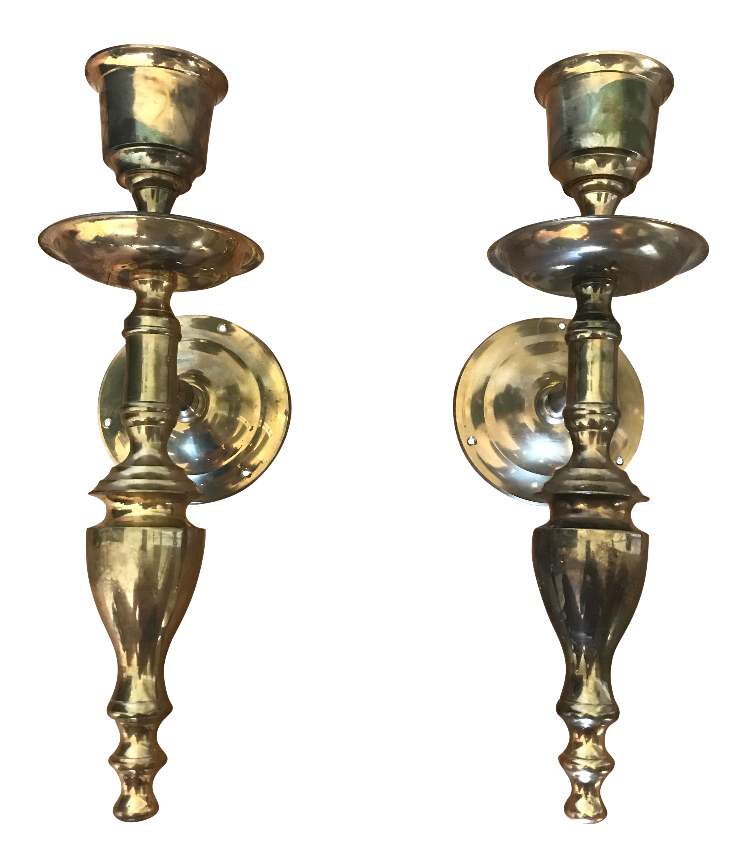 Vintage Brass Candle Wall Sconces A Pair Chairish