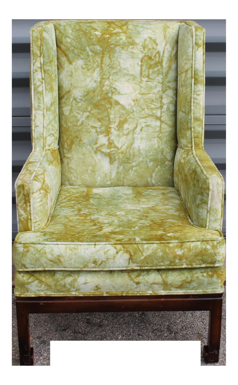 Jack Lenor Larsen Mid Century Modern Tie Dye Upholstered Wing Chair ...