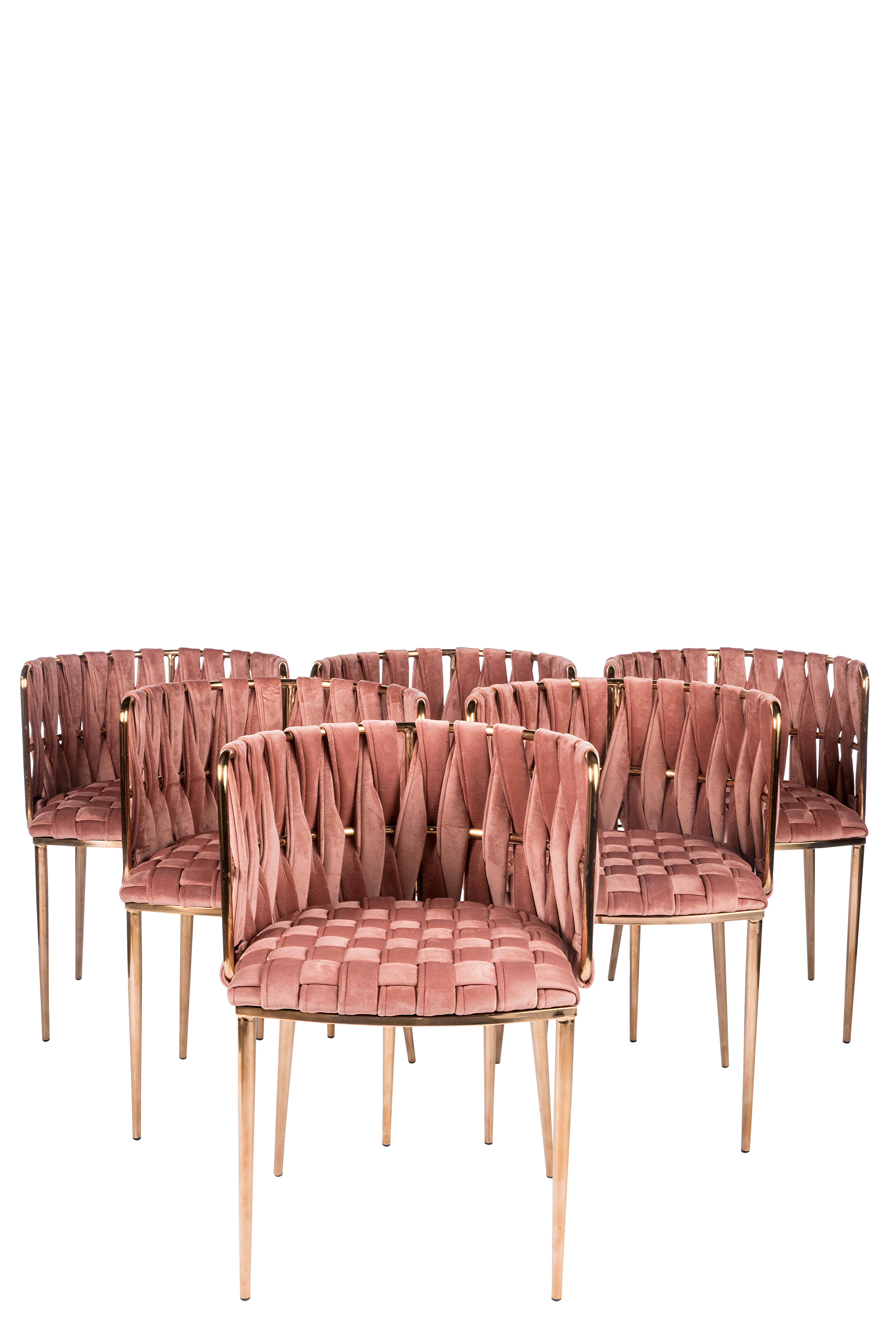 Modern Milano Rose Velvet And Gold Dining Chairs Set Of 6 Chairish