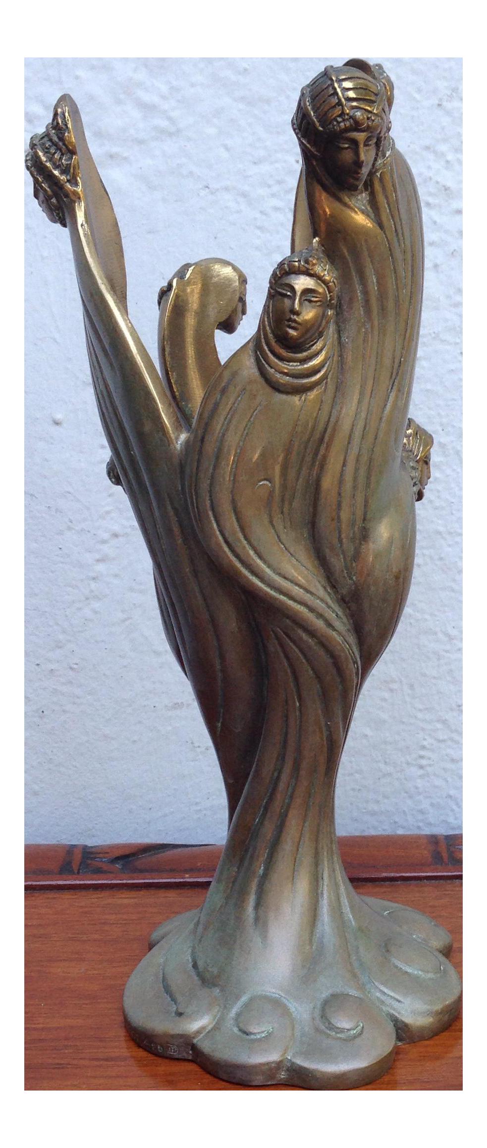 Erte Bronze Visages De Femme Sculpture Chairish