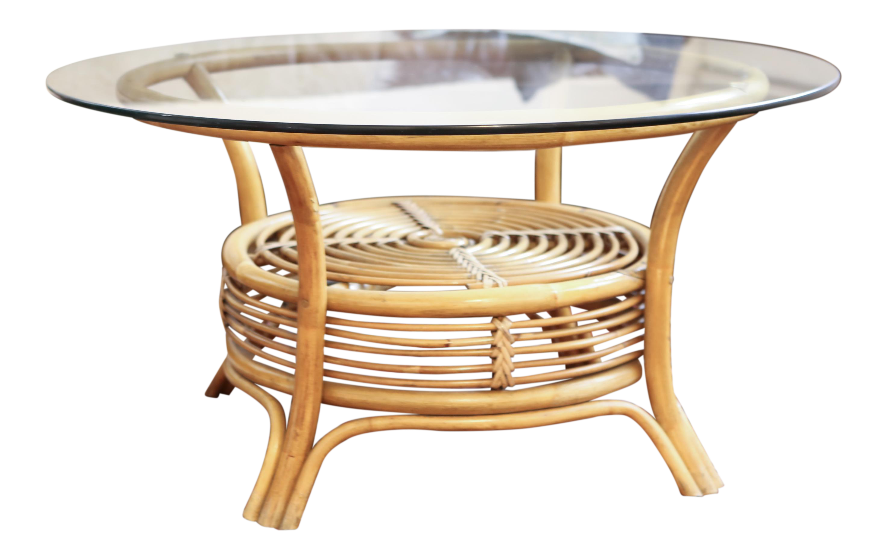 Round Rattan Bamboo Pencil Reed Glass Top Coffee Table Chairish - Bamboo end table glass top