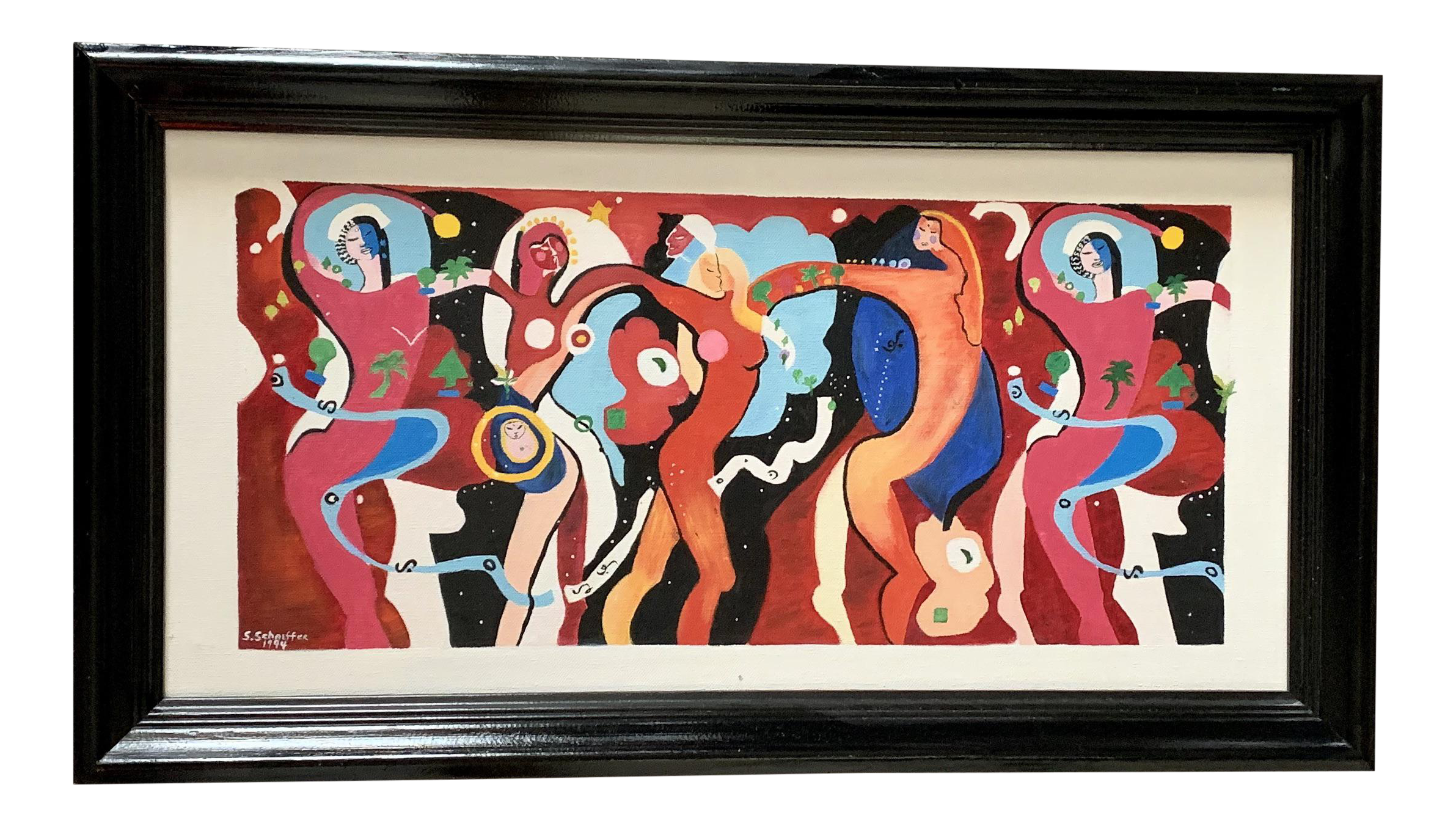 Pop Art Original Abstract Modernist Painting Of Dancing Women In Vivid Colors Signed Original Dated 1994 Chairish