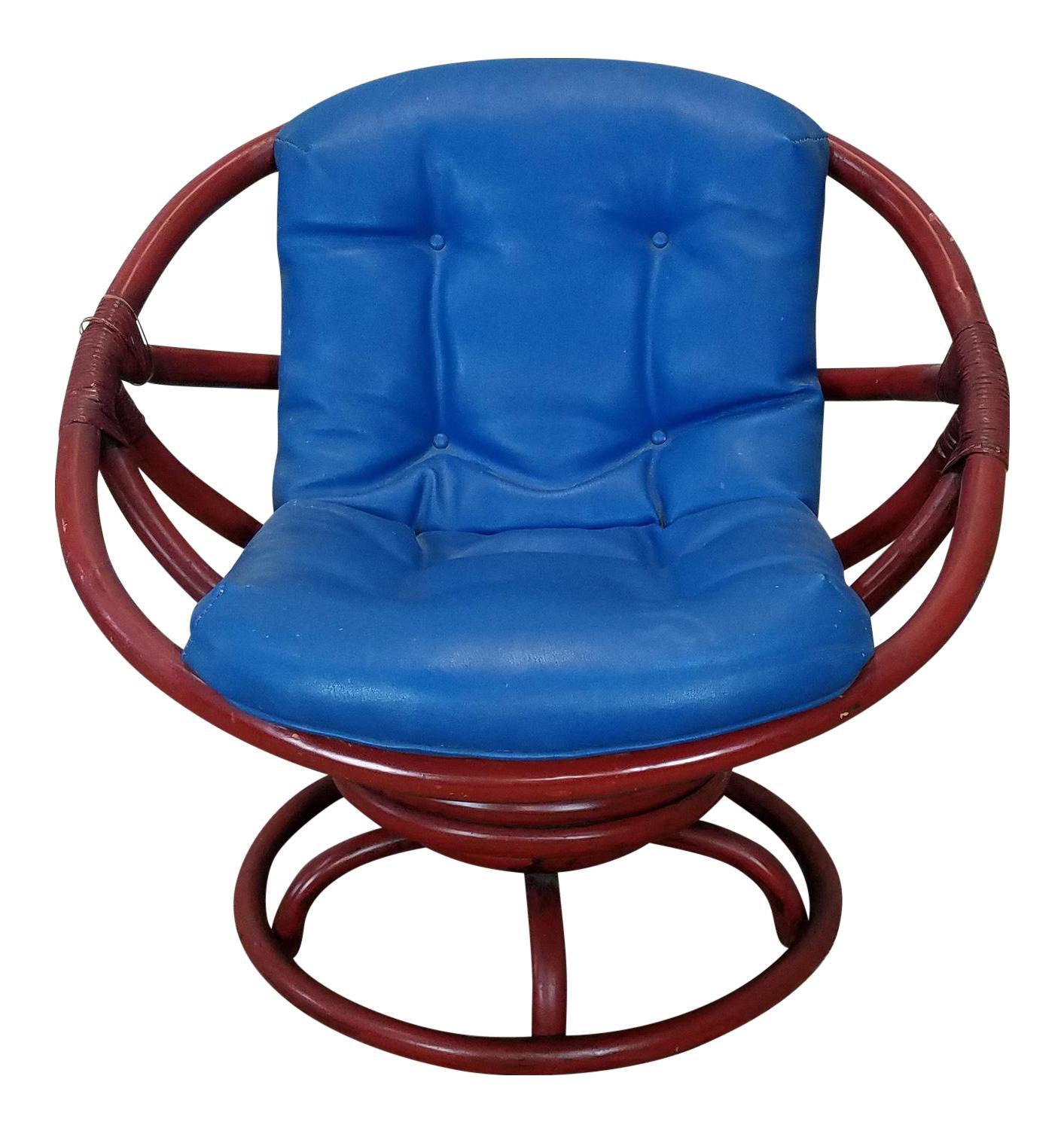 Vintage Ficks Reed Red Rattan Swivel Papasan Chair on Vintage Ficks Reed Rattan Furniture