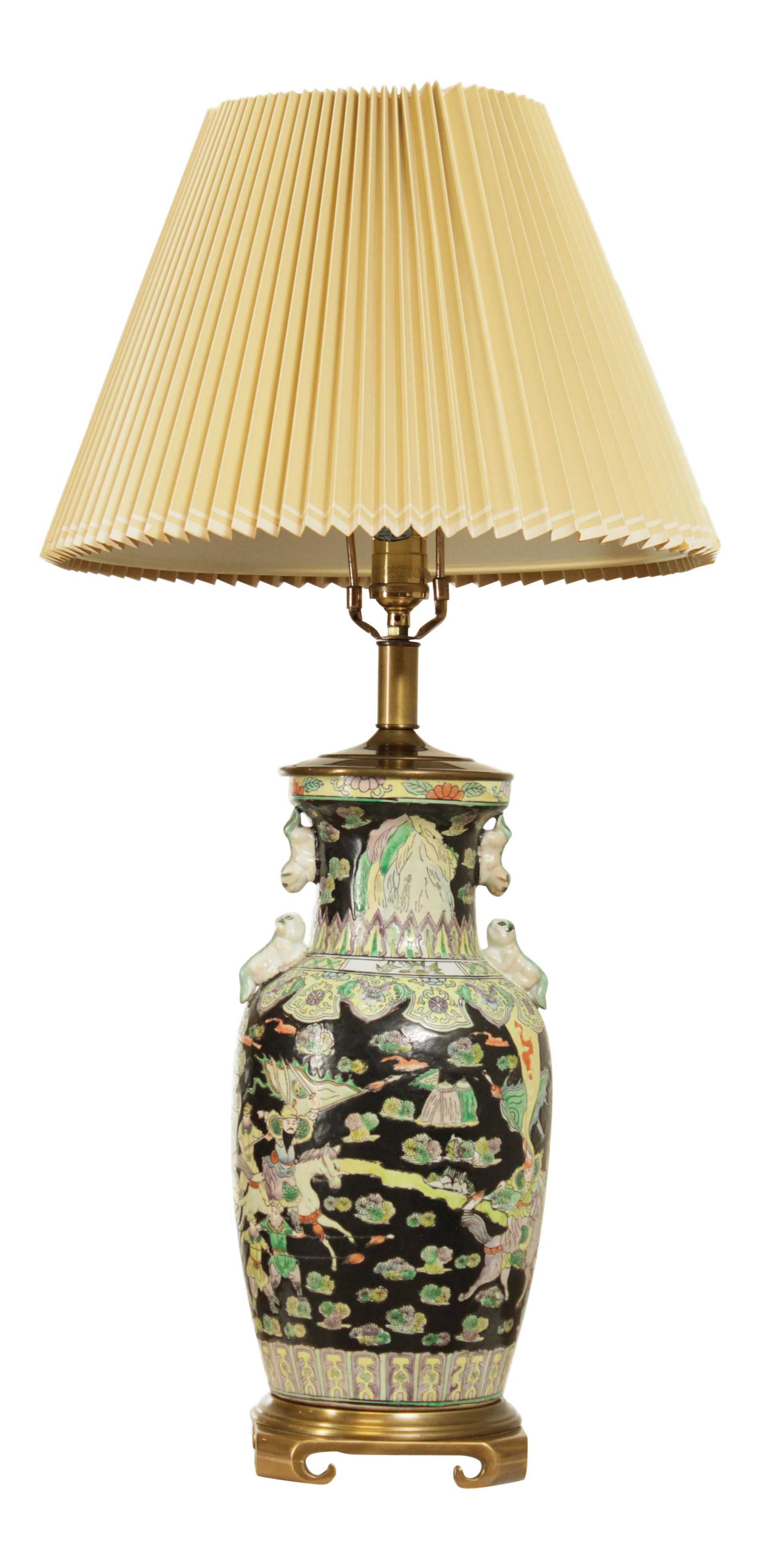 Picture of: Remington Asian Pottery Brass Base Table Lamp Chairish