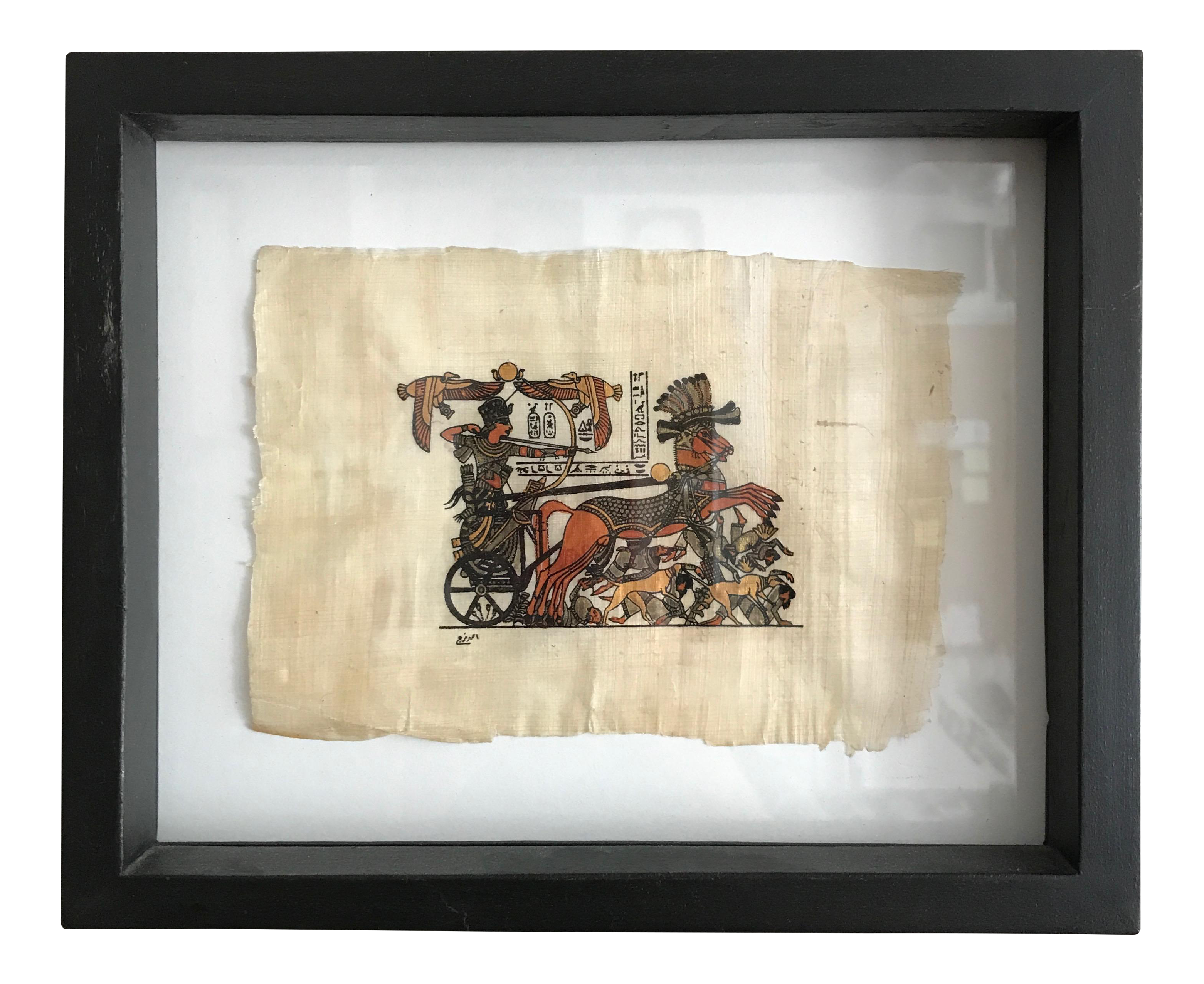 Framed Egyptian Chariot on Papyrus | Chairish
