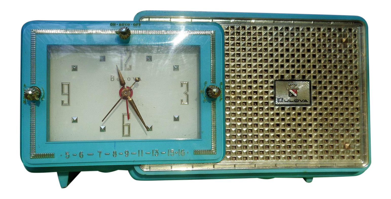 Vintage art deco bulova clock radio chairish for Kitchen cabinet trends 2018 combined with wall clock art deco