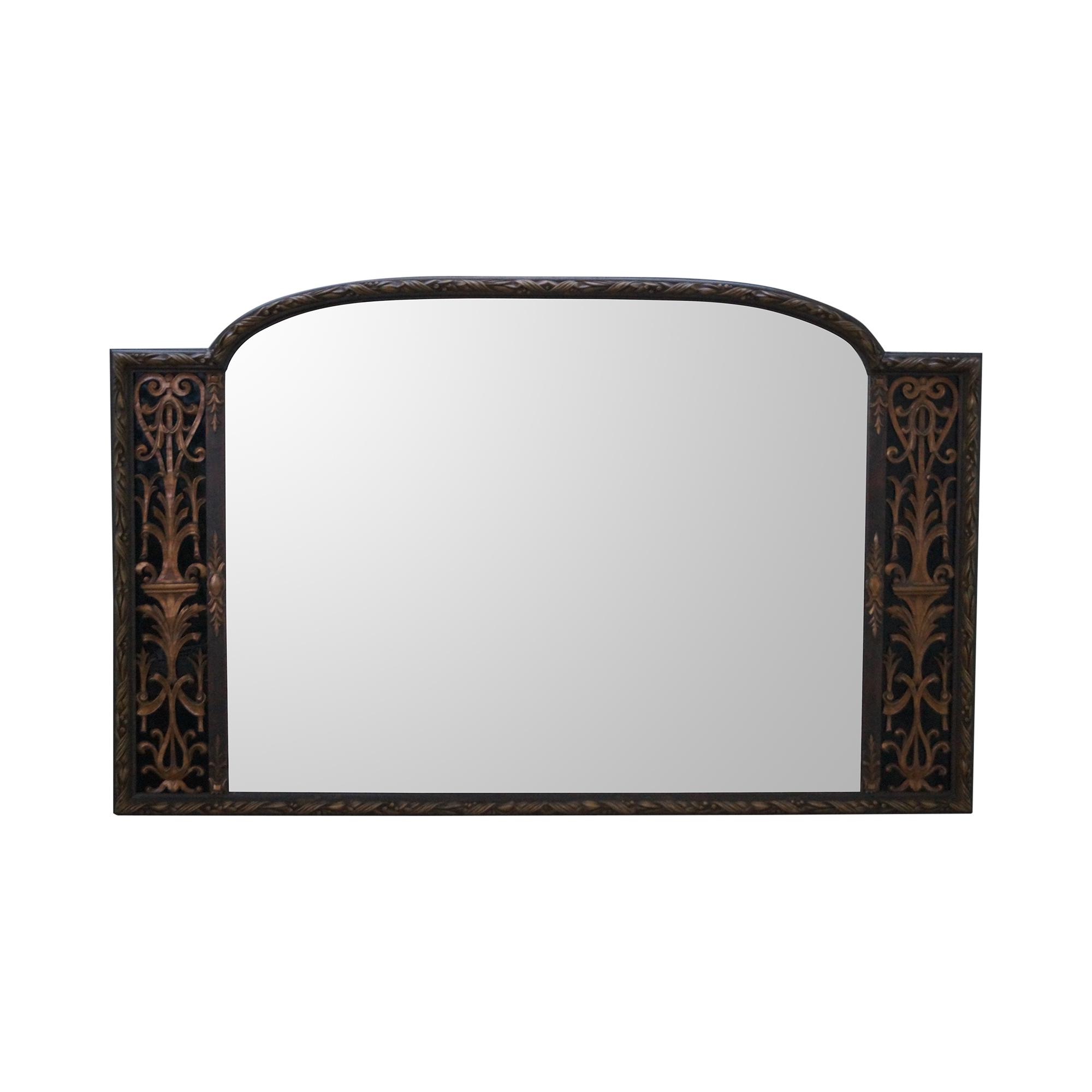 Antique Art Deco Gold Frame Mirror & Black Glass | Chairish