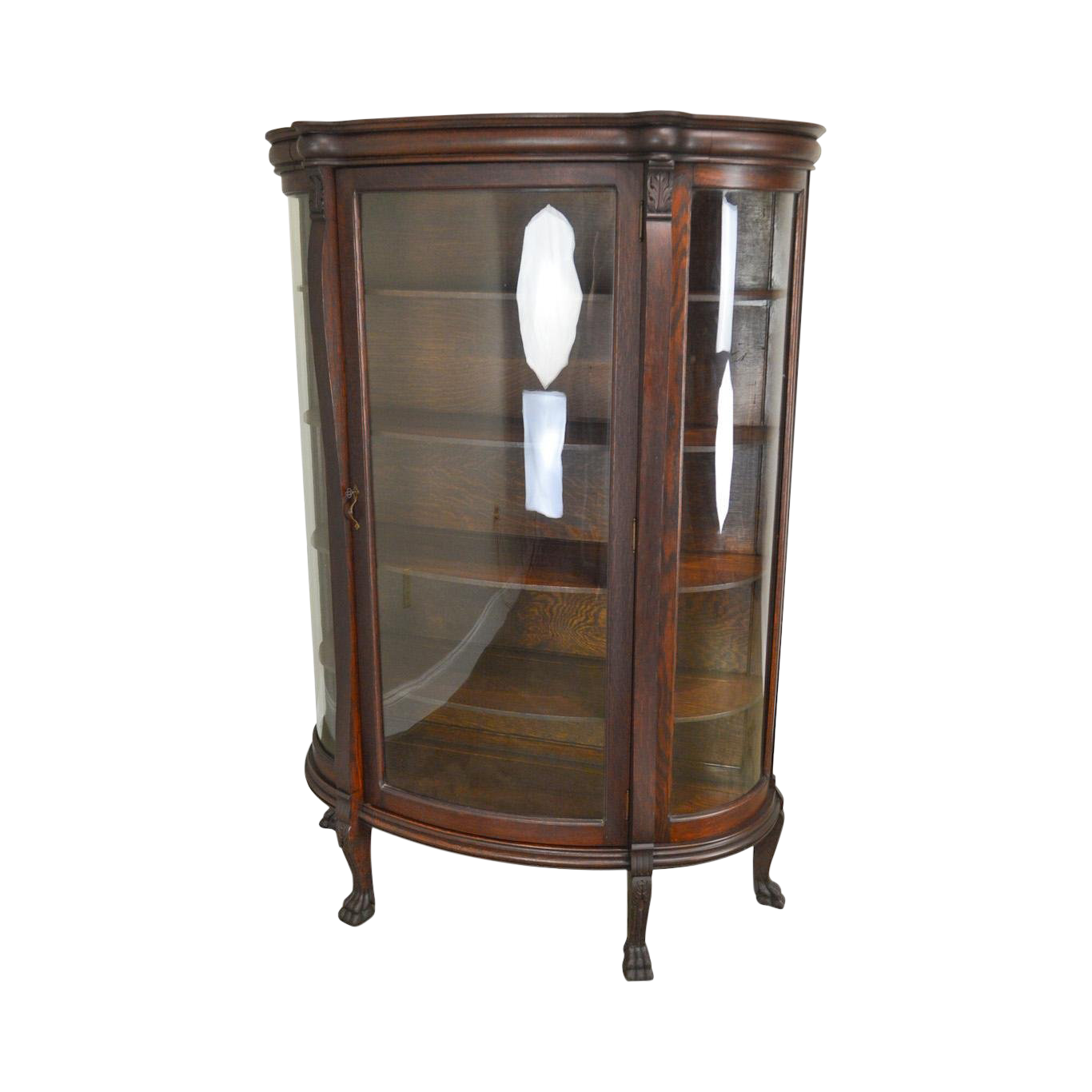 Victorian Oak Antique Bow Glass Claw Foot China Cabinet