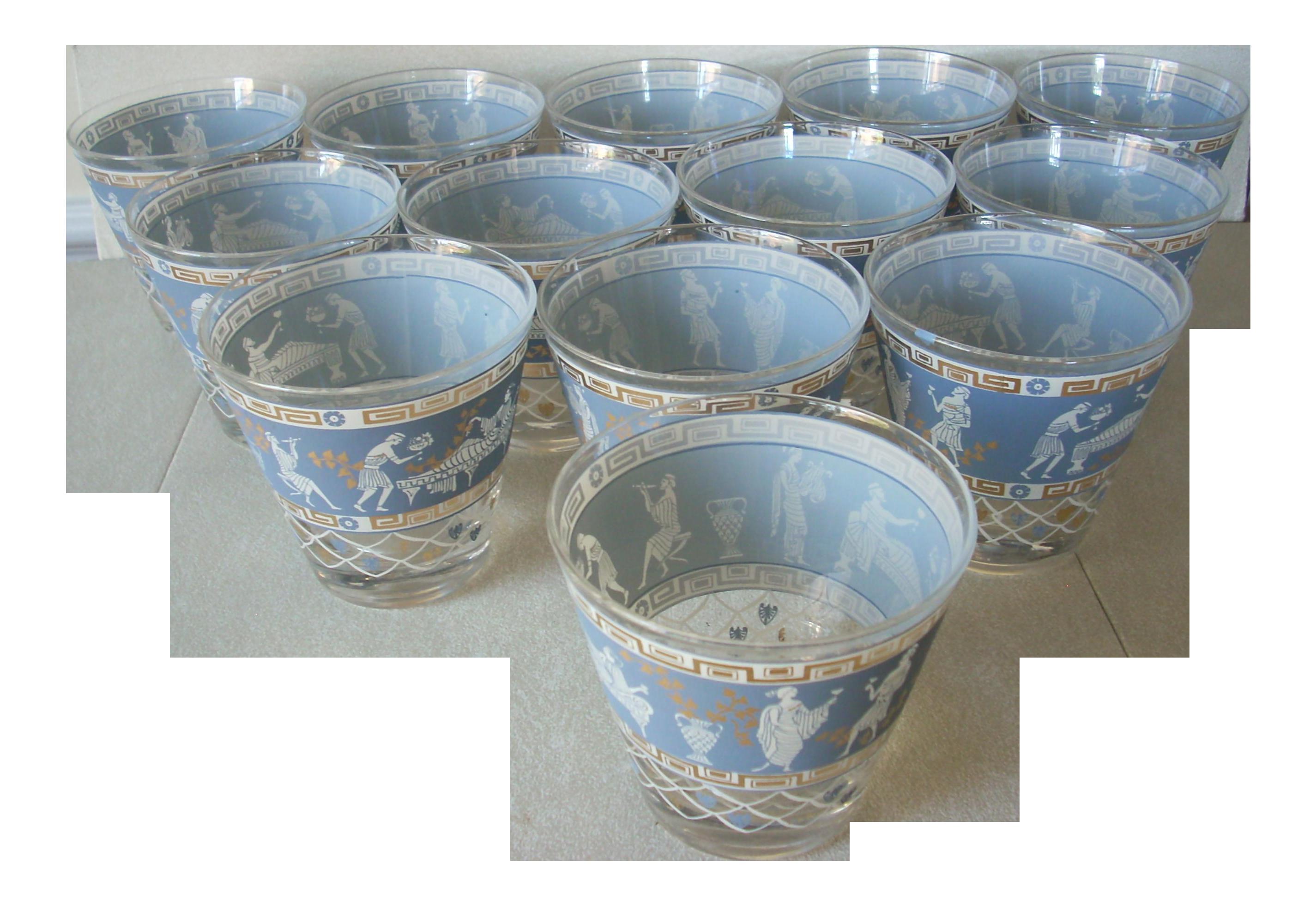 1950s Jeanette Greek Highball Glasses - Set of 13