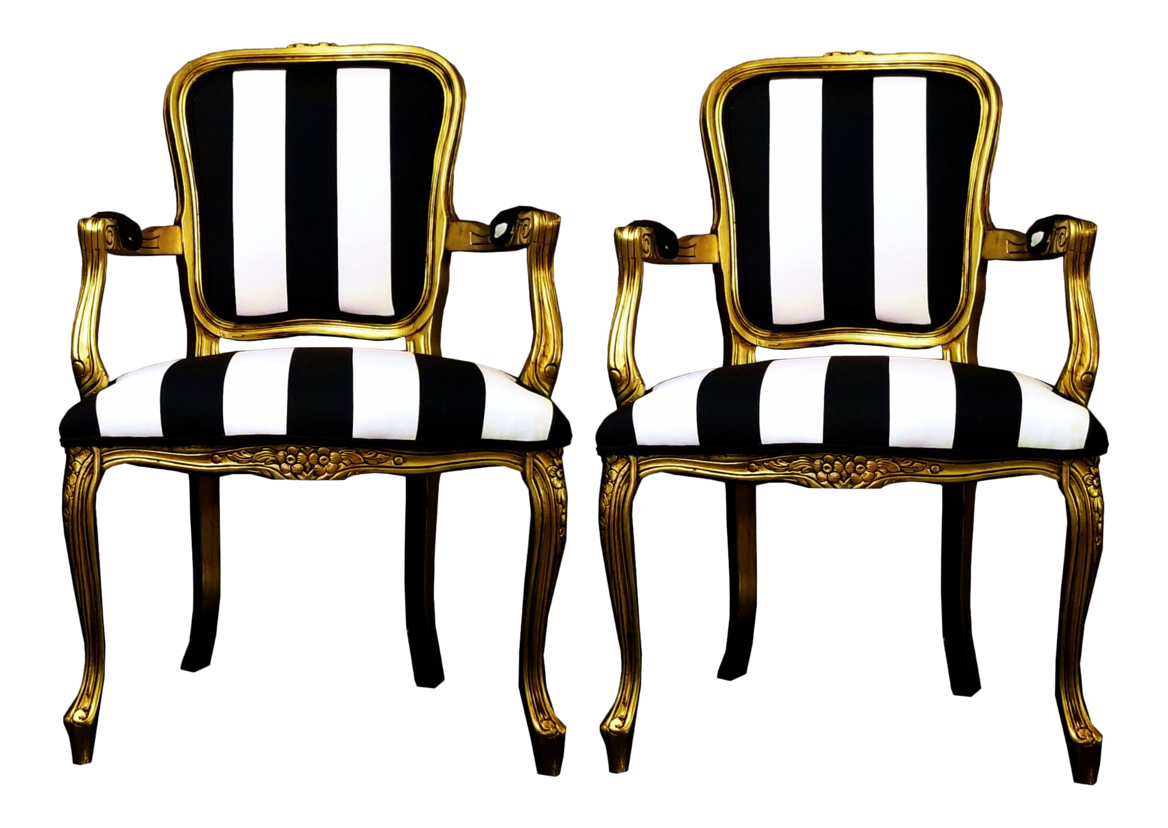 Vintage Louis Xv Style Gold Black And White Stripe Chairs A Pair
