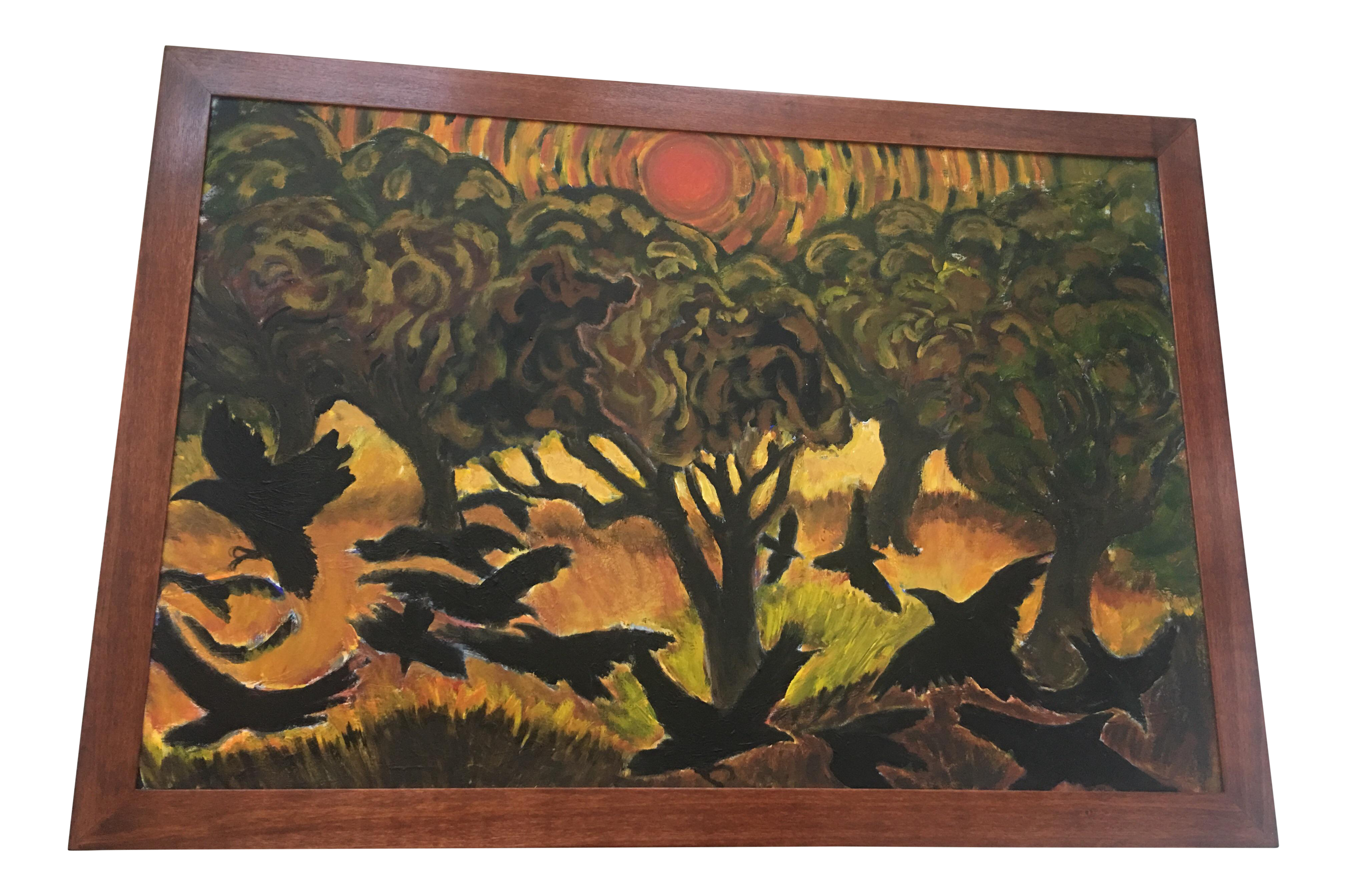 Matthew Zappala Red Sun Over Olive Trees Painting | Chairish