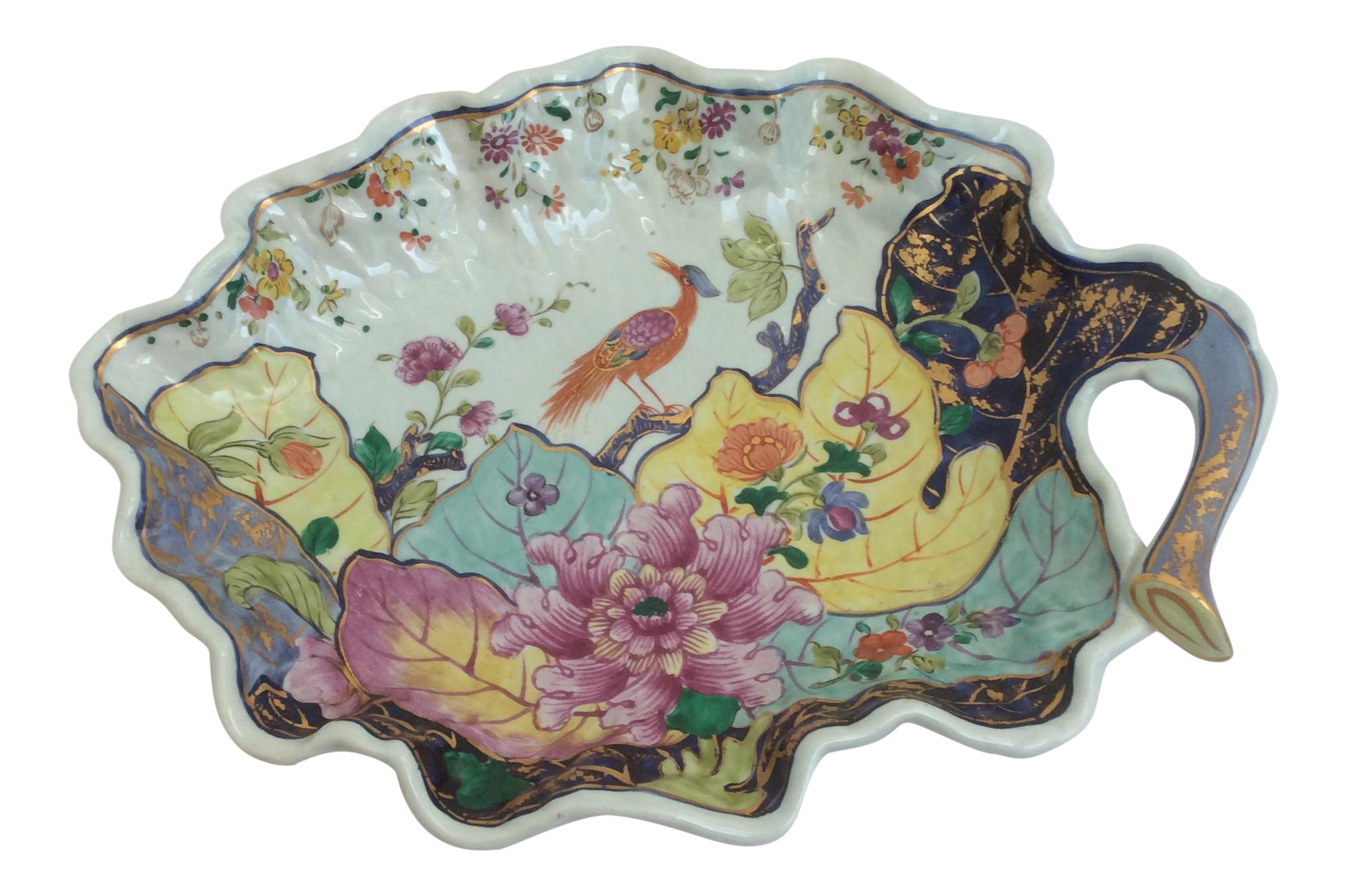 Mottahedeh Tobacco Leaf Style Porcelain Dish Chairish