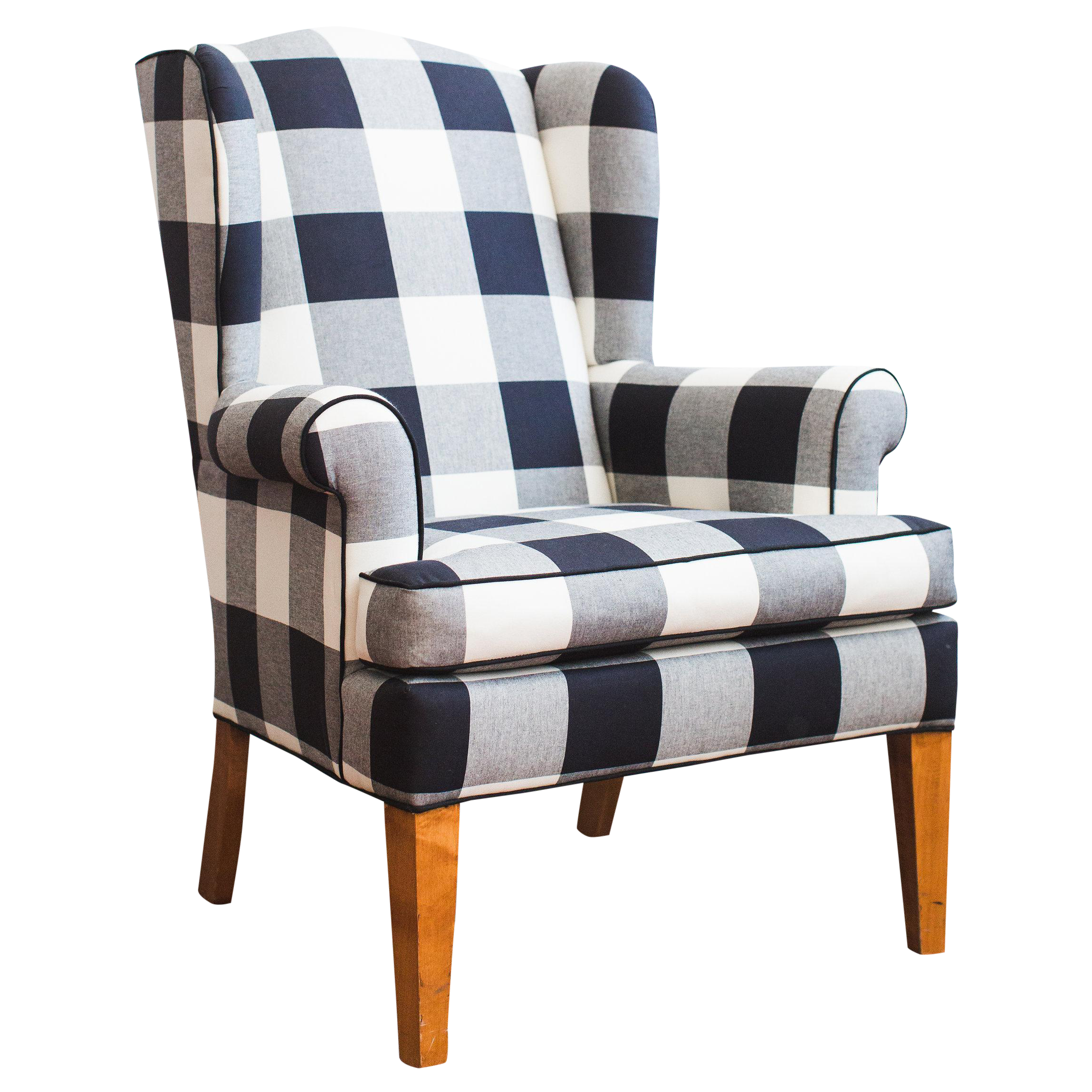 Black White Buffalo Check Wingback Chair Chairish