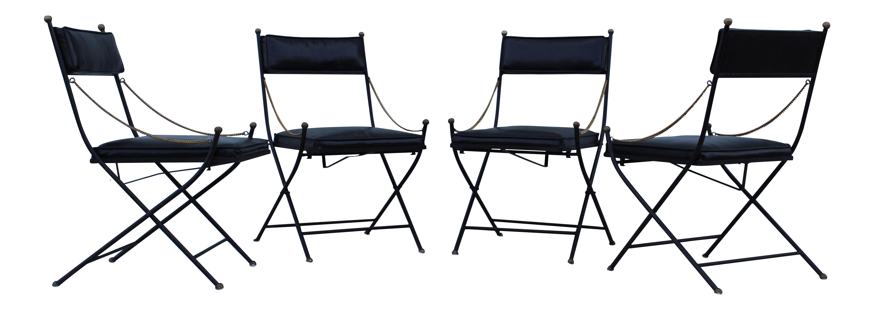 1950 s French Maison Jansen Style Folding Chairs Set of 4