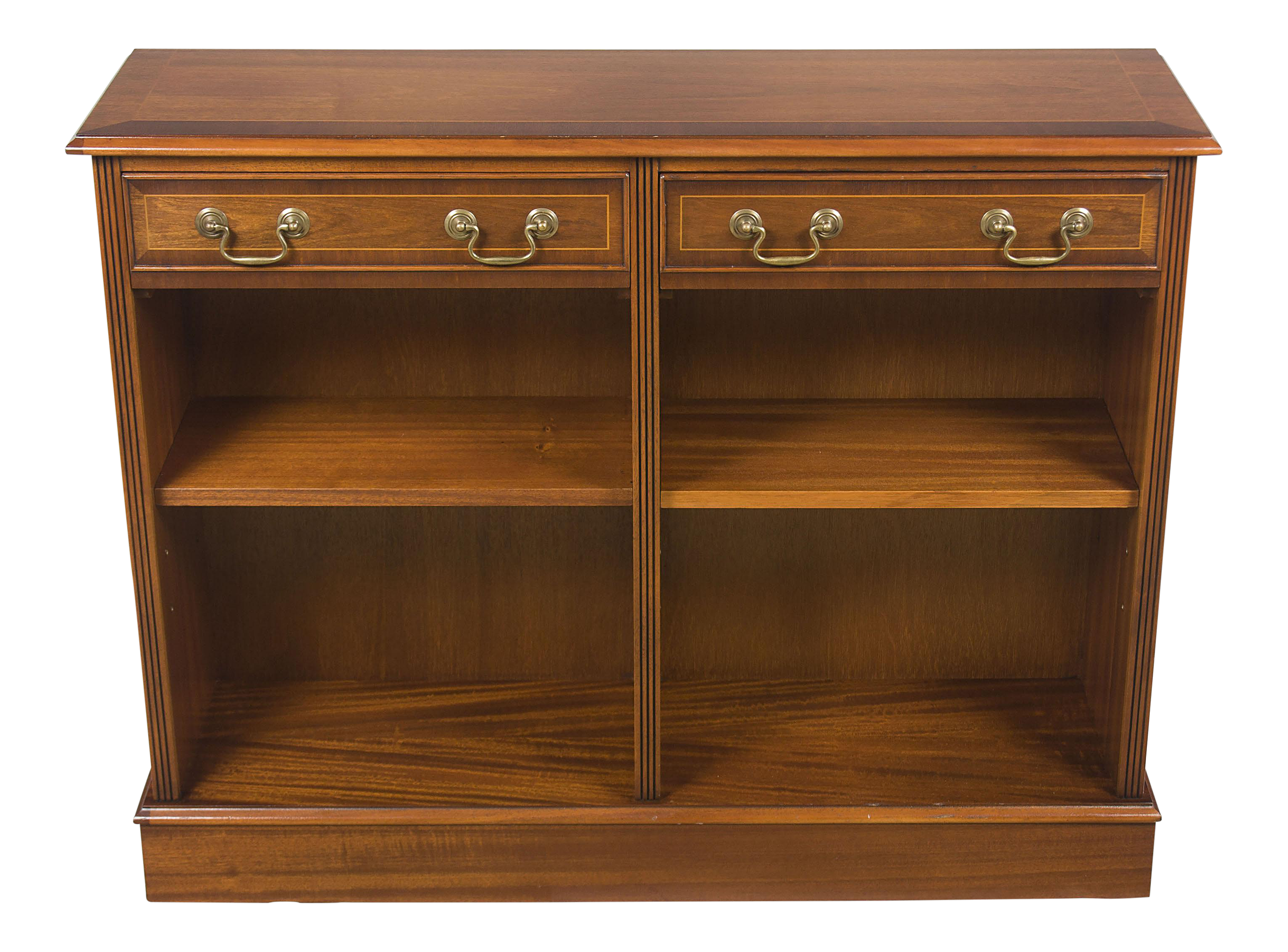 1960s Traditional Short Mahogany Narrow Open Bookcase With Drawers