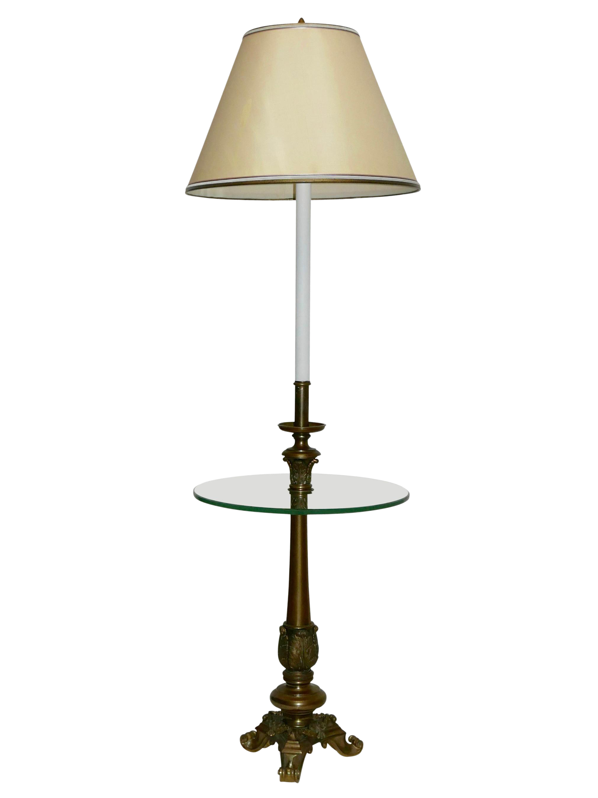 Vintage Brass And Glass Floor Lamp With Table Chairish