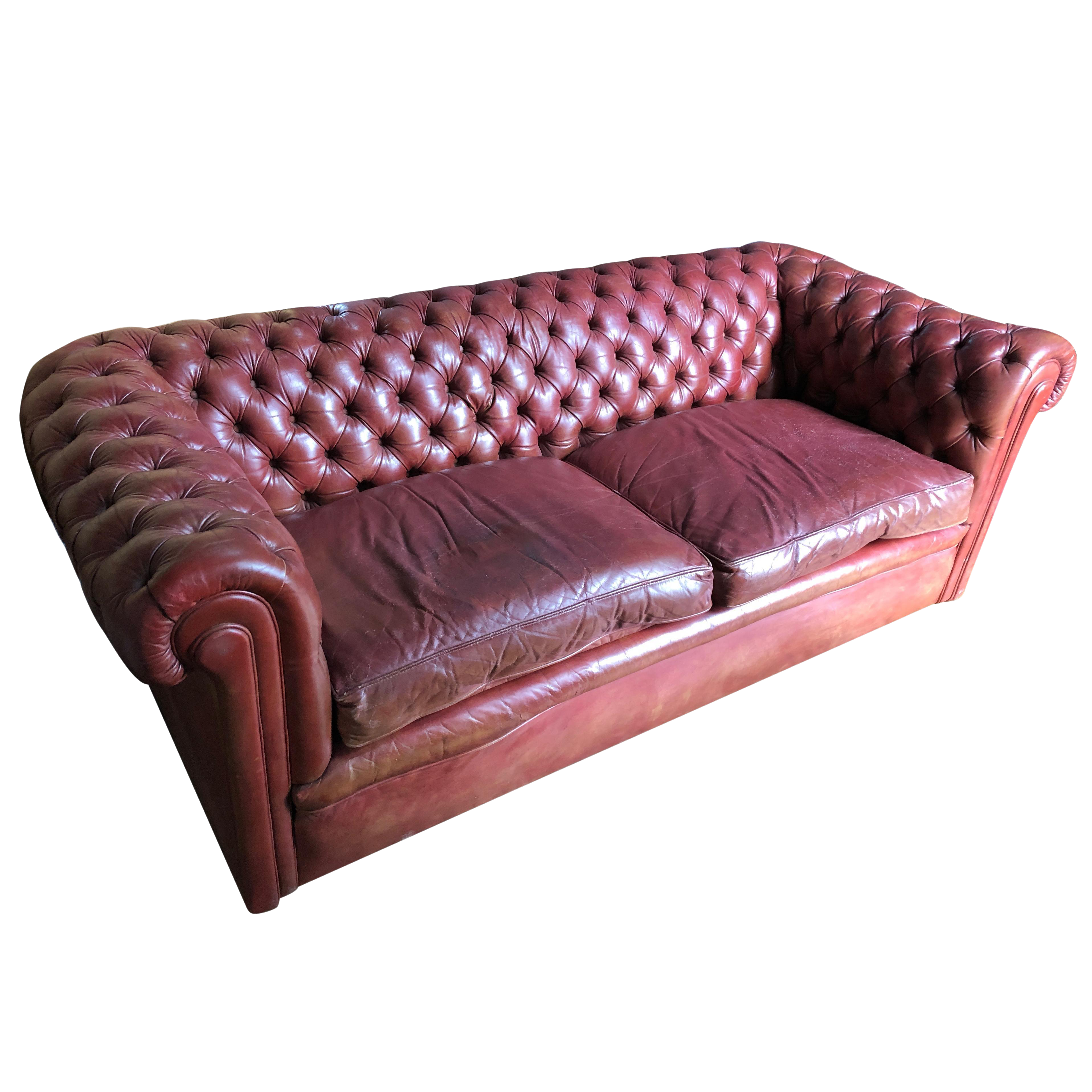 Incredibly Handsome Distressed Tufted English Leather Chesterfield Sofa