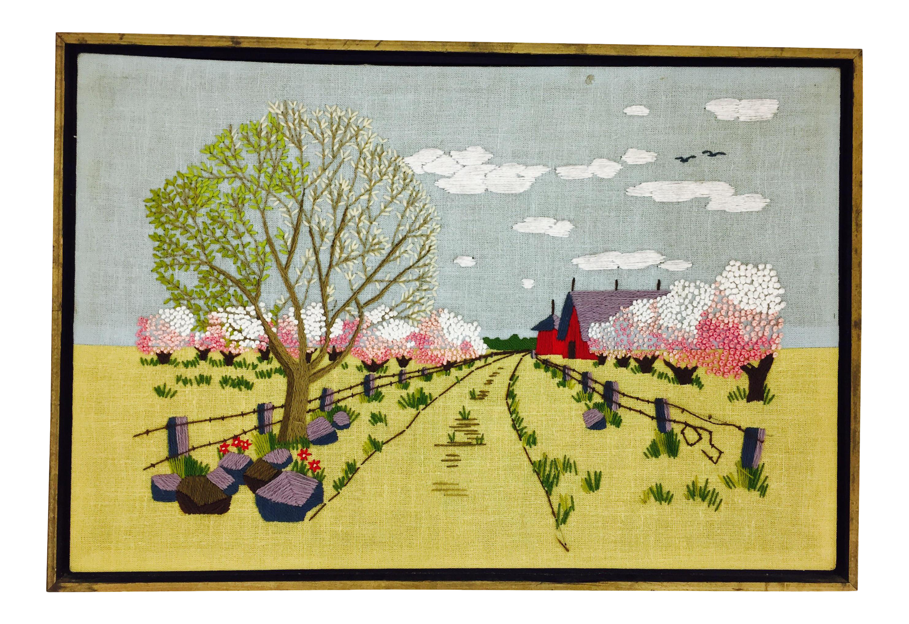 Vintage Crewel Embroidered Landscape | Chairish
