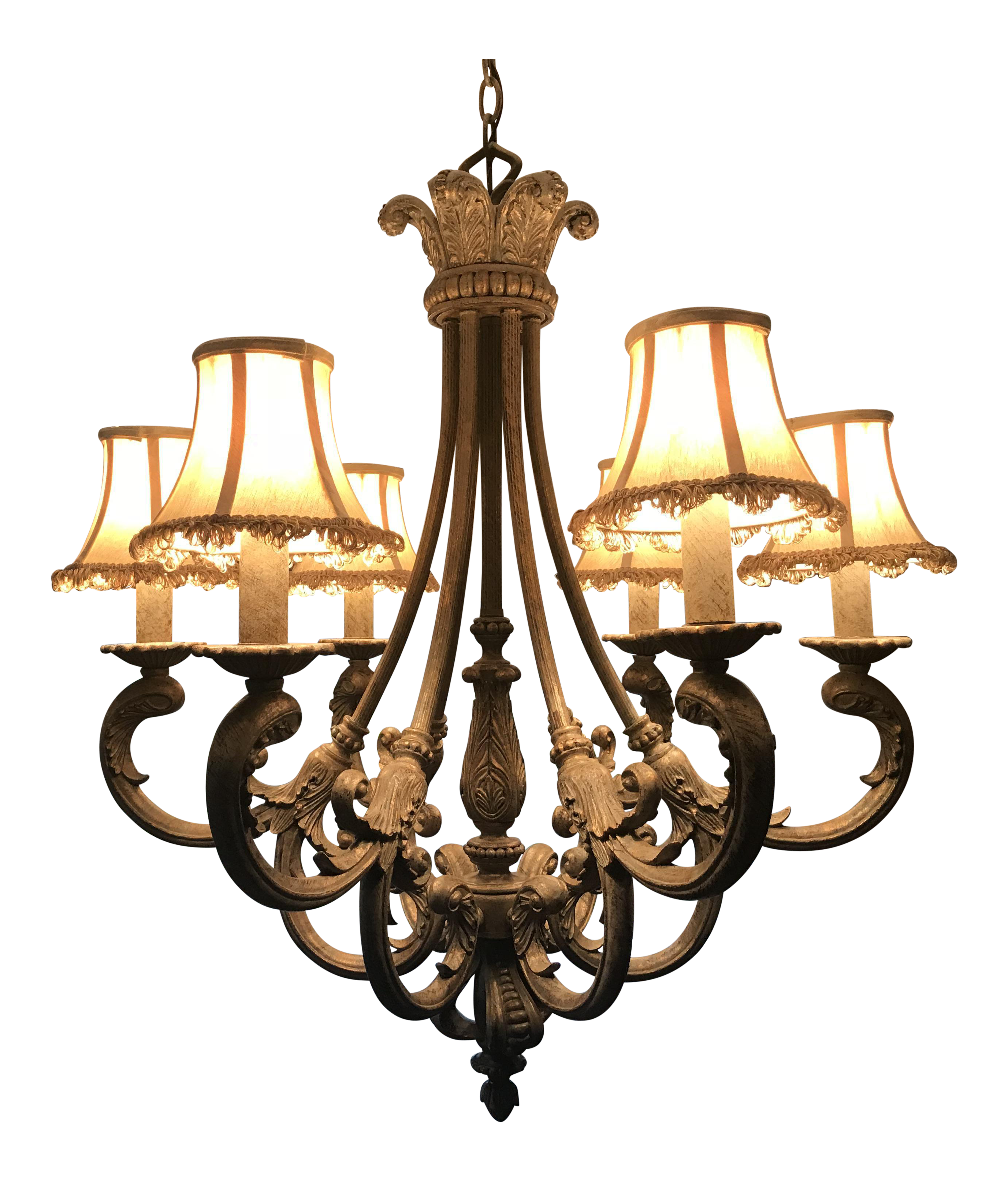Cast bronze french chandelier with silk shades chairish arubaitofo Images