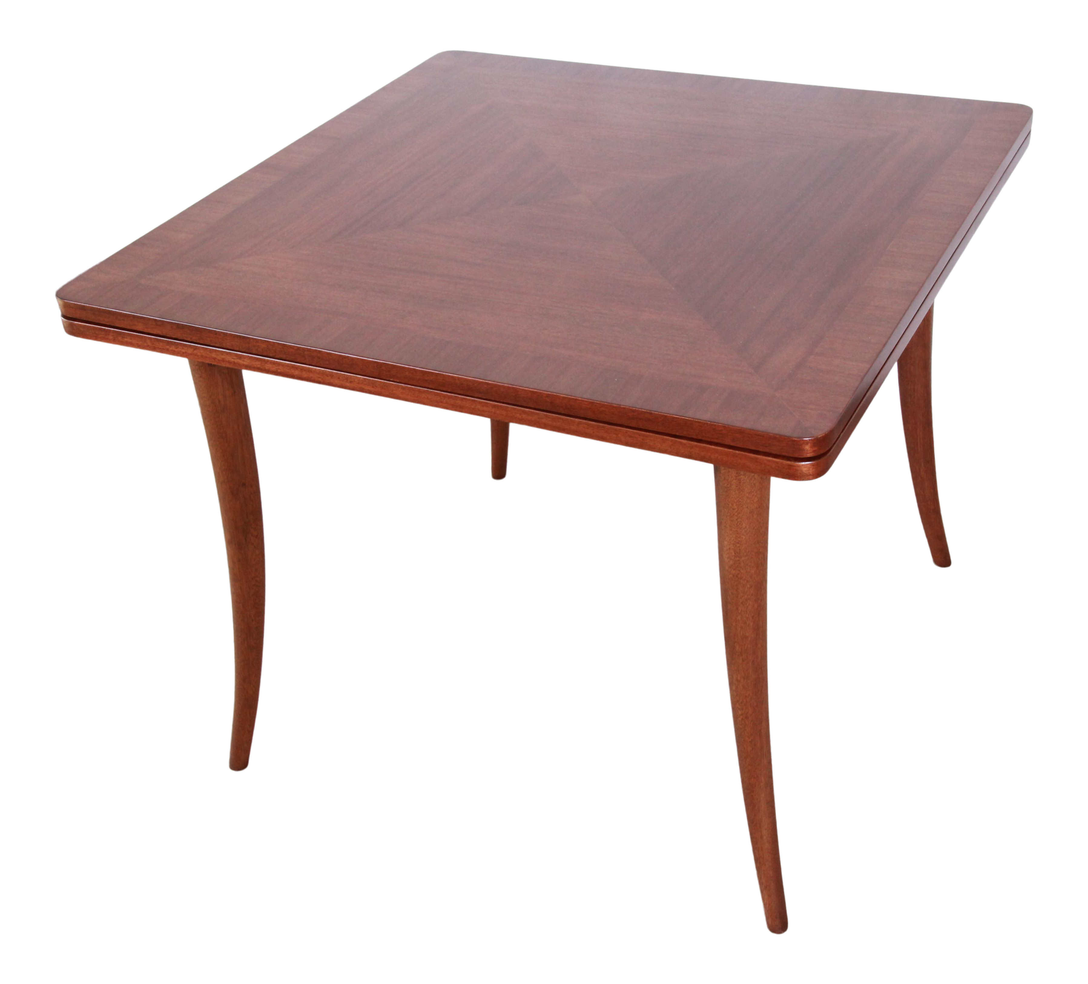 Harvey Probber Mid-Century Modern Mahogany Saber Leg Flip Top Extension  Dining / Game Table