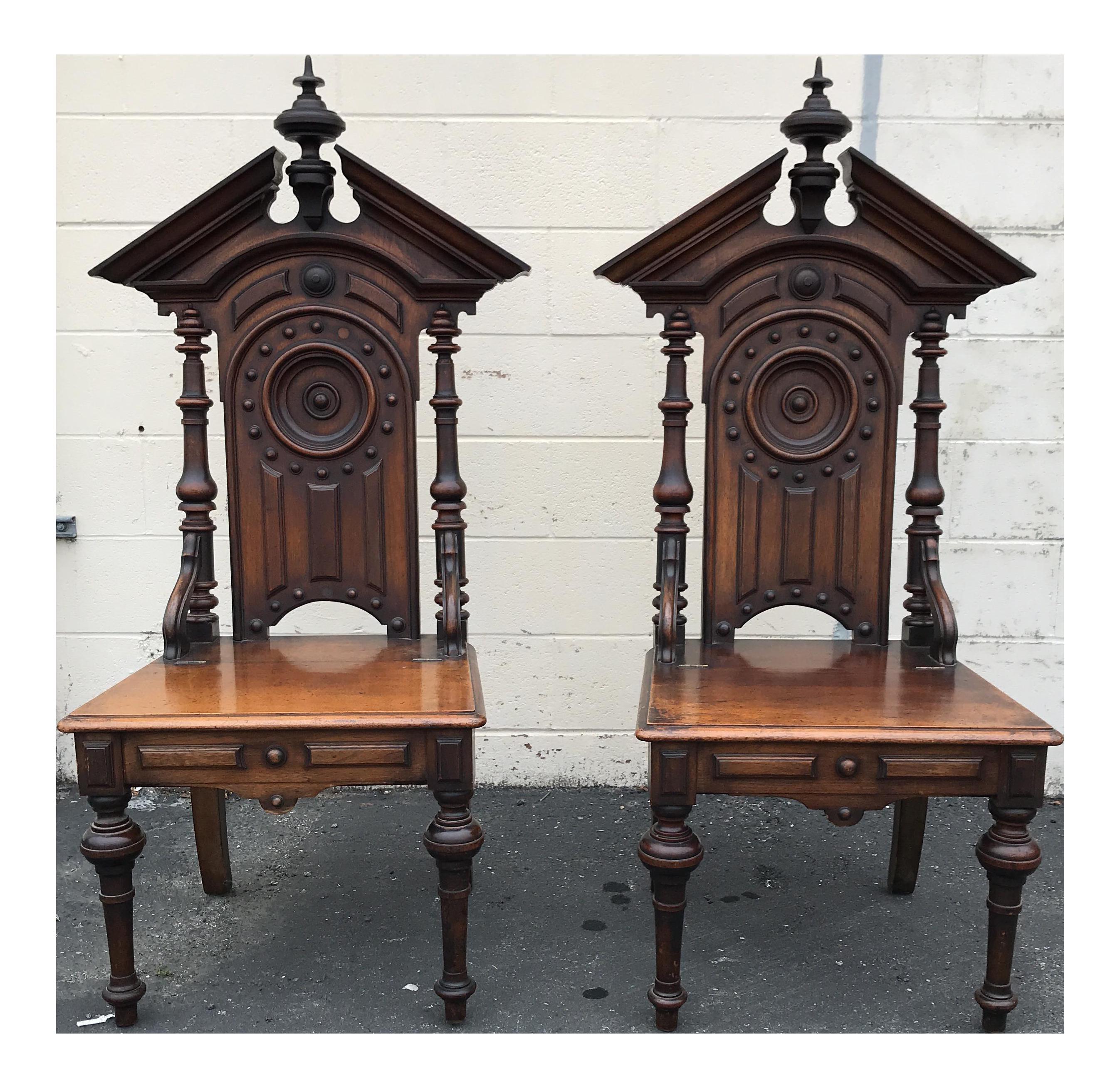 Antique Gothic Style Church Chairs A Pair Chairish