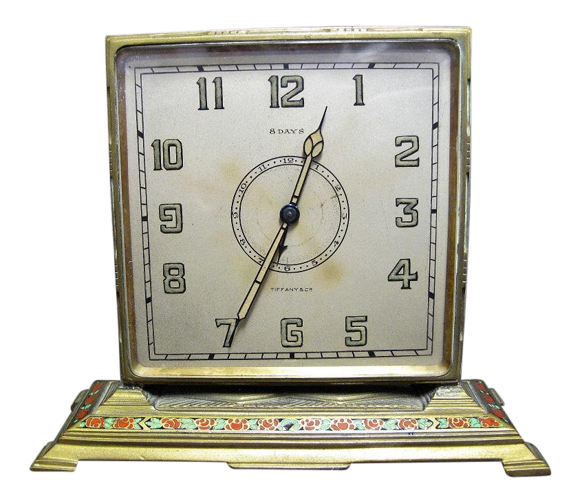 Tiffany Co Art Deco Brass Desk Clock With Hand Painted Roses