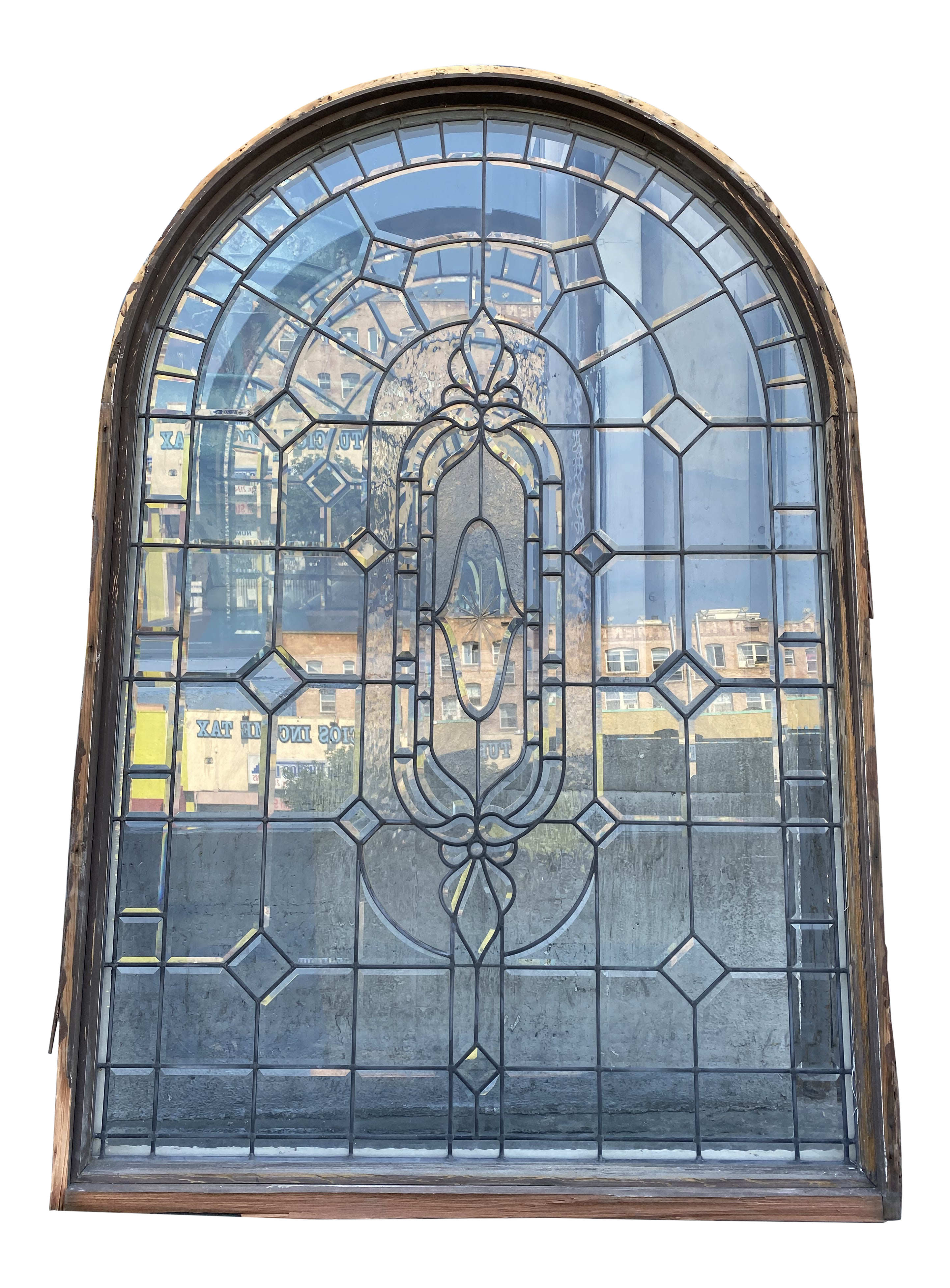 Spanish Arched Leaded Glass Window With Beveled Glass Chairish