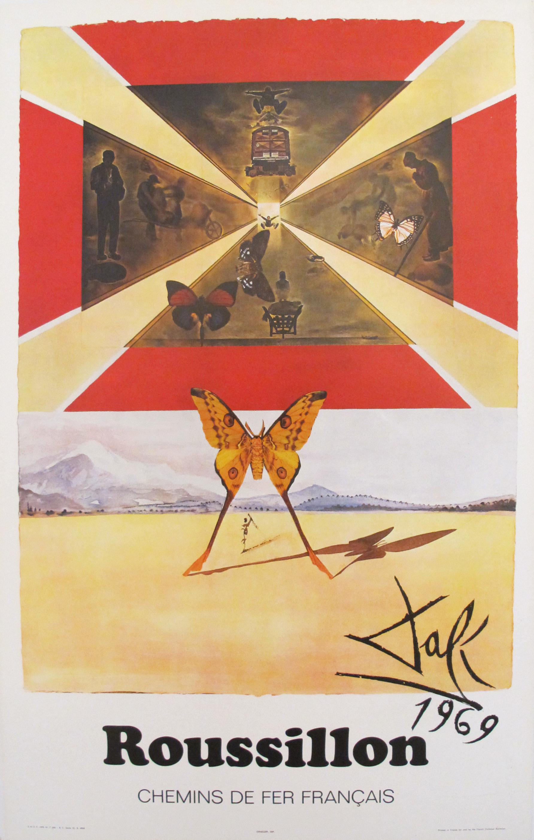 1969 Salvador Dali SNCF Roussillon France Travel Poster | Chairish