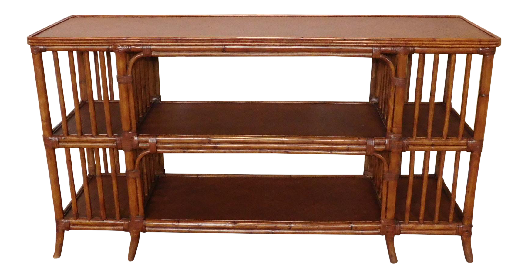 Ethan Allen Rattan Media Console Sofa Table Chairish