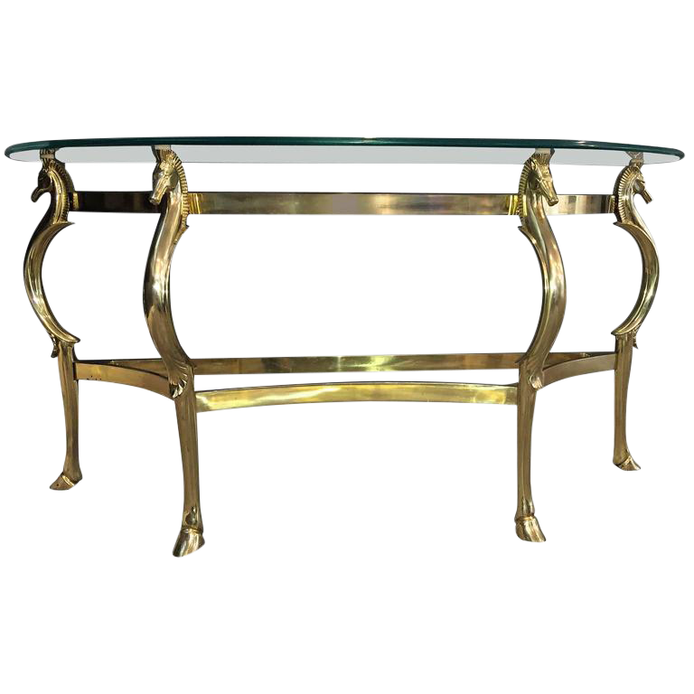 Lovely Glamorous Italian Polished Brass Seahorse Console Table DECASO - Seahorse coffee table