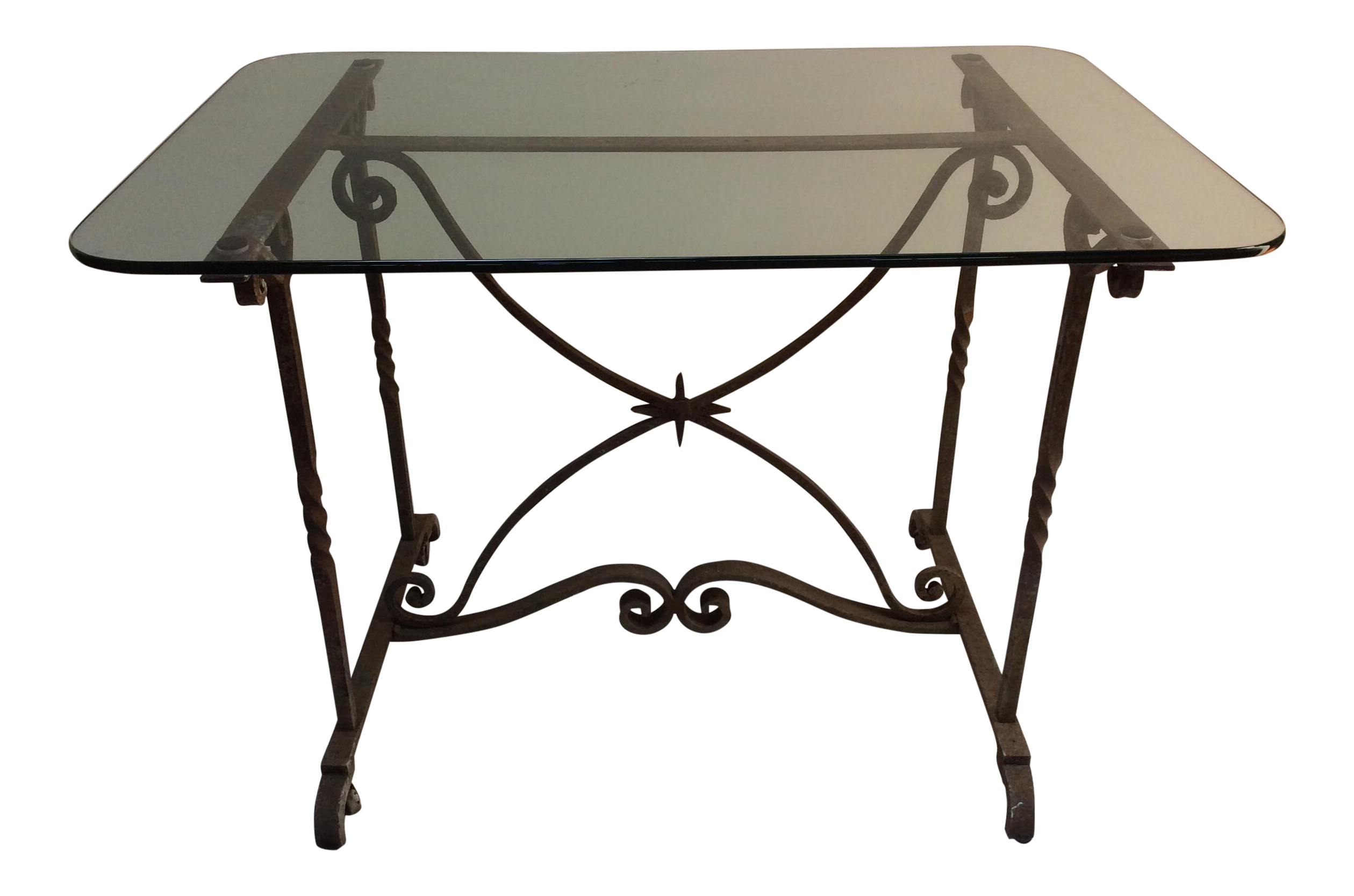Wrought iron glass top table chairish for Wrought iron and glass table