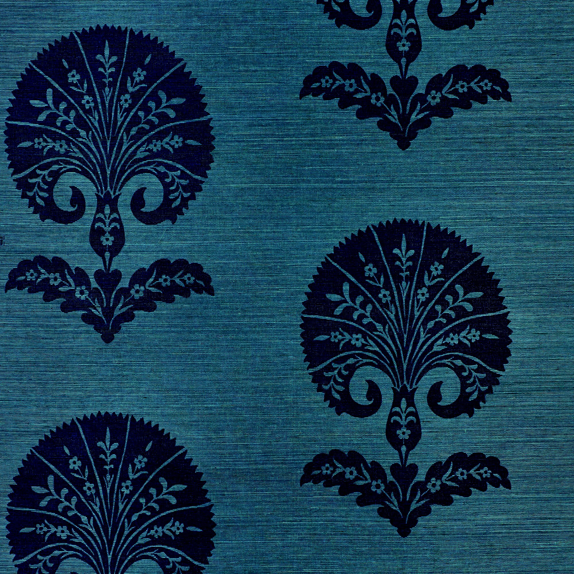 Schumacher Ottoman Flower Sisal Wallpaper In Peacock Chairish