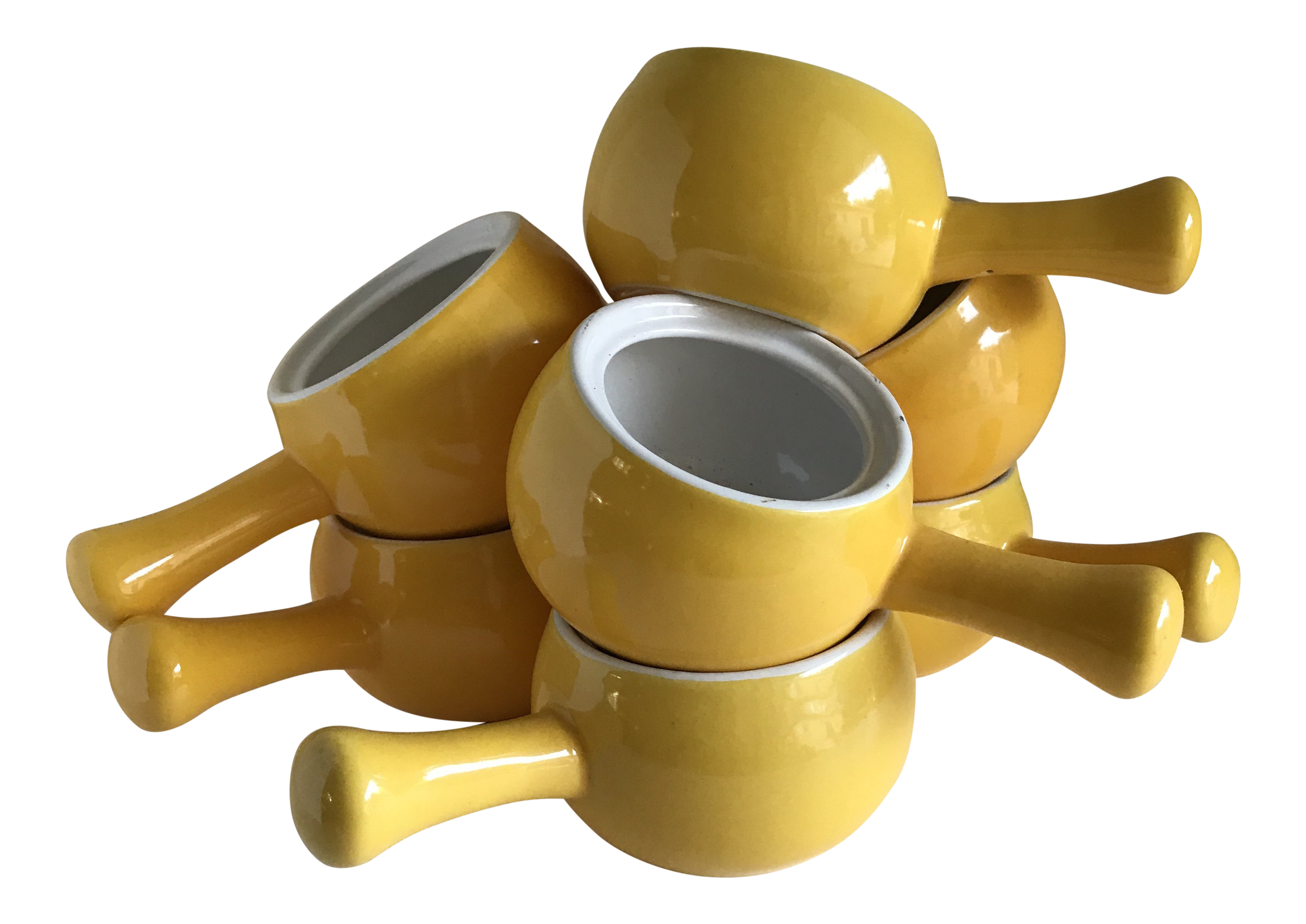 Outstanding Boho Chic Yellow Ceramic Handled Bowls Set Of 7 Download Free Architecture Designs Lukepmadebymaigaardcom