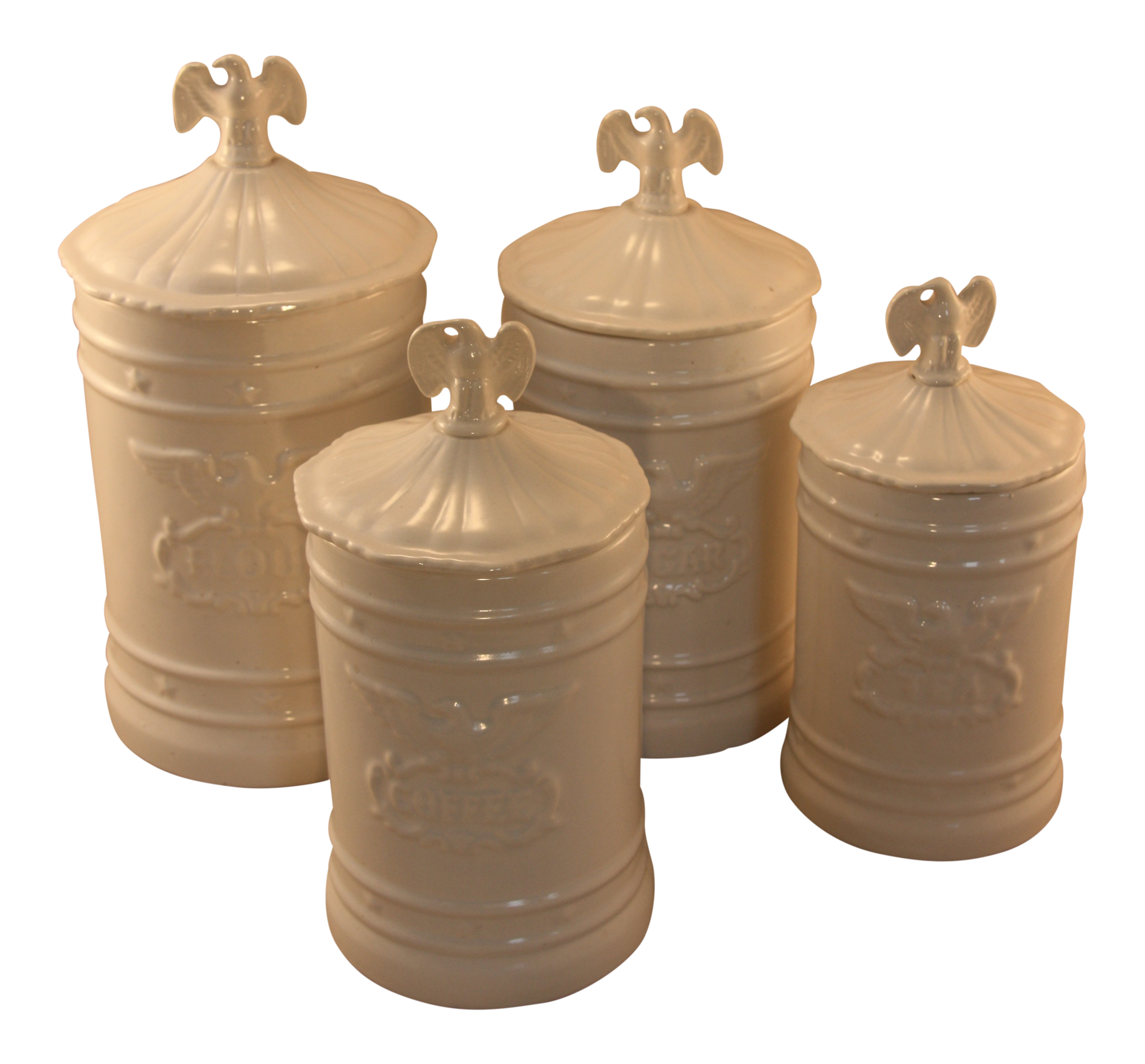 Vintage Ceramic Kitchen Canisters With Eagle Topped Lids - Set of 4