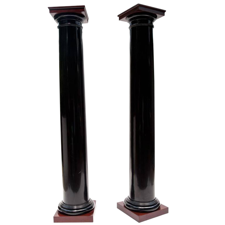 Exquisite Black Lacquer Wood Columns With Mahogany Caps