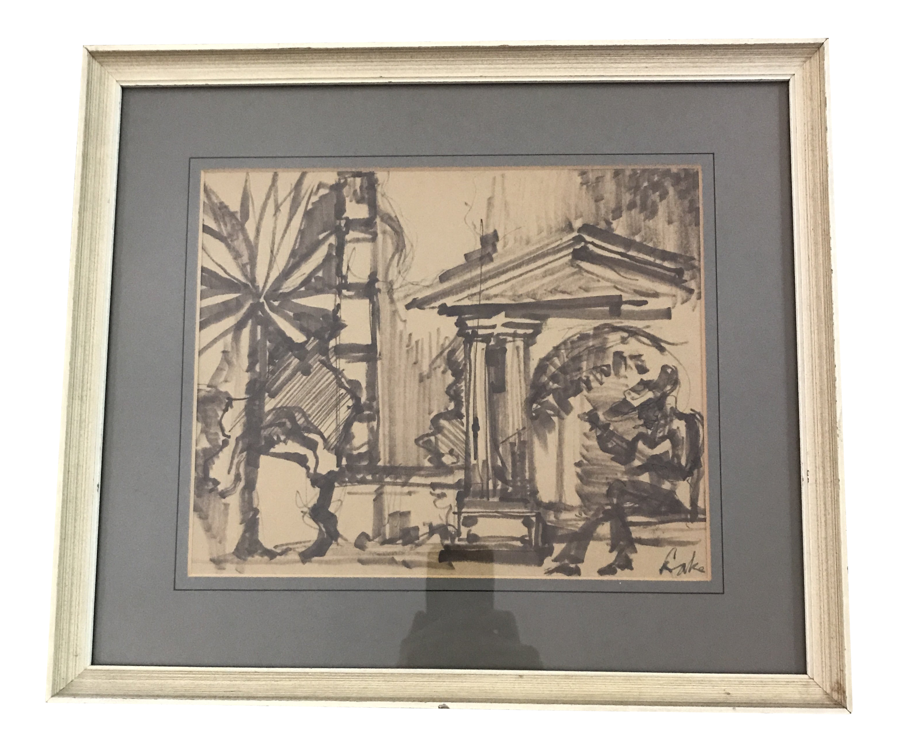 Framed Vintage Neoclassic Architectural Scene Sketch Chairish