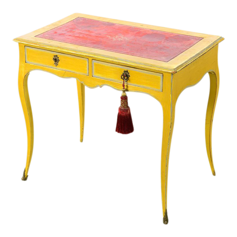 19th Century Venetian Painted Petite Las Desk W Red Leather Top