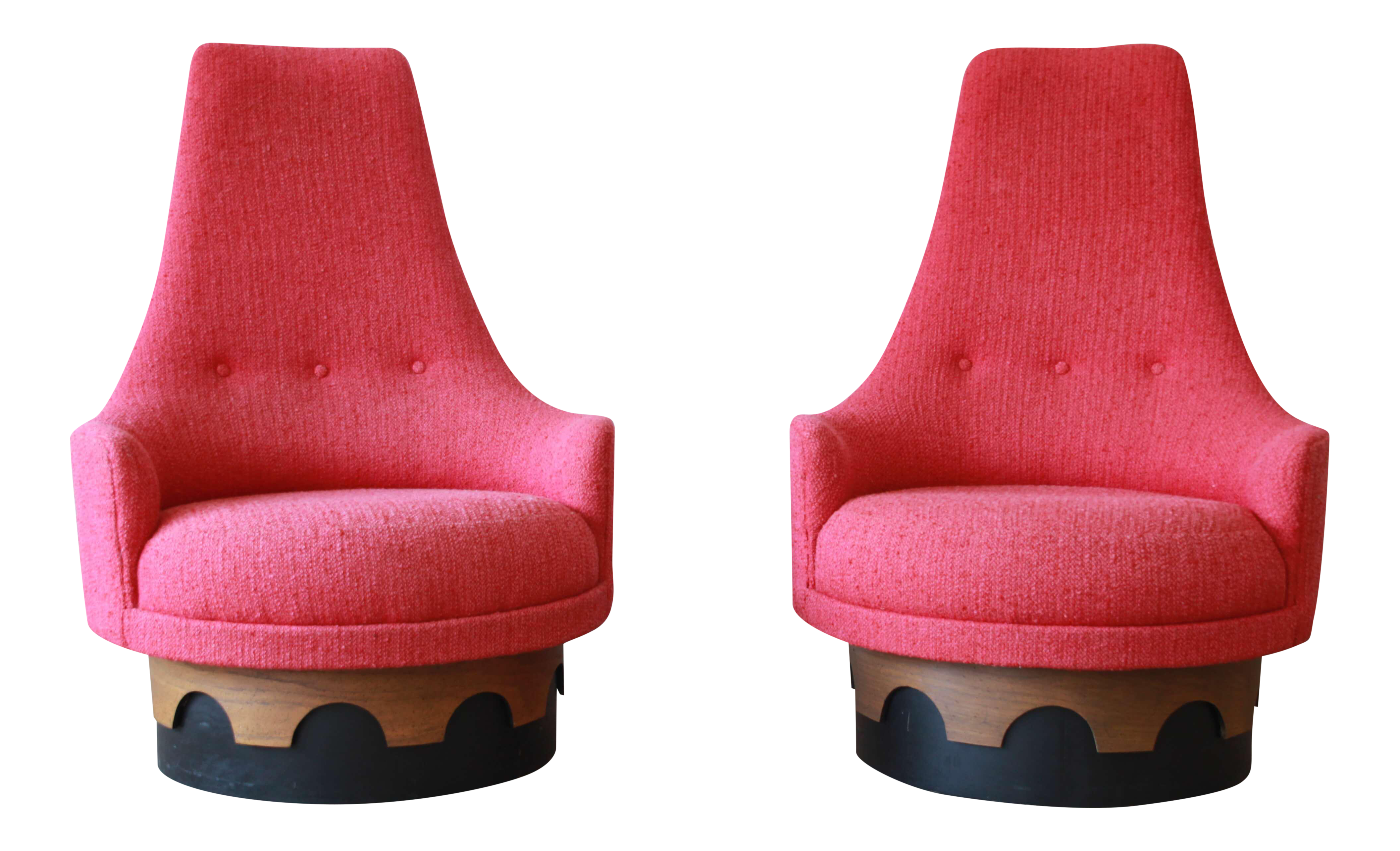 1960s Vintage Adrian Pearsall High Back Swivel Chairs   A Pair | Chairish
