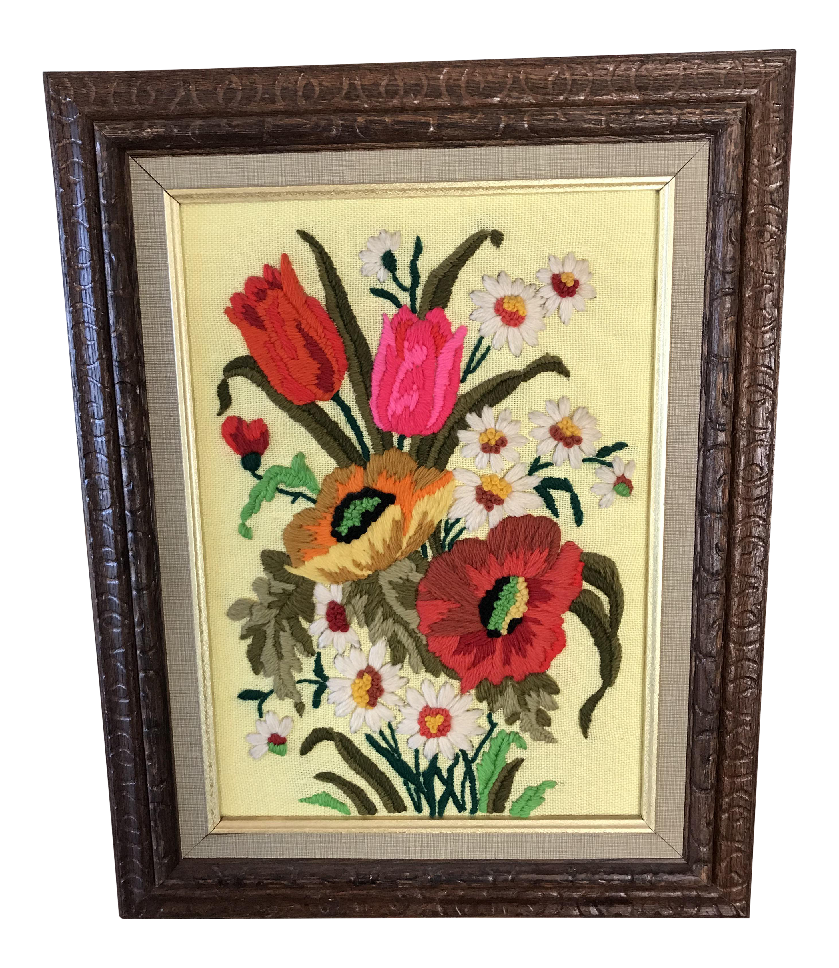 1960\'s Framed Crewel Flower Bouquet Embroidery | Chairish