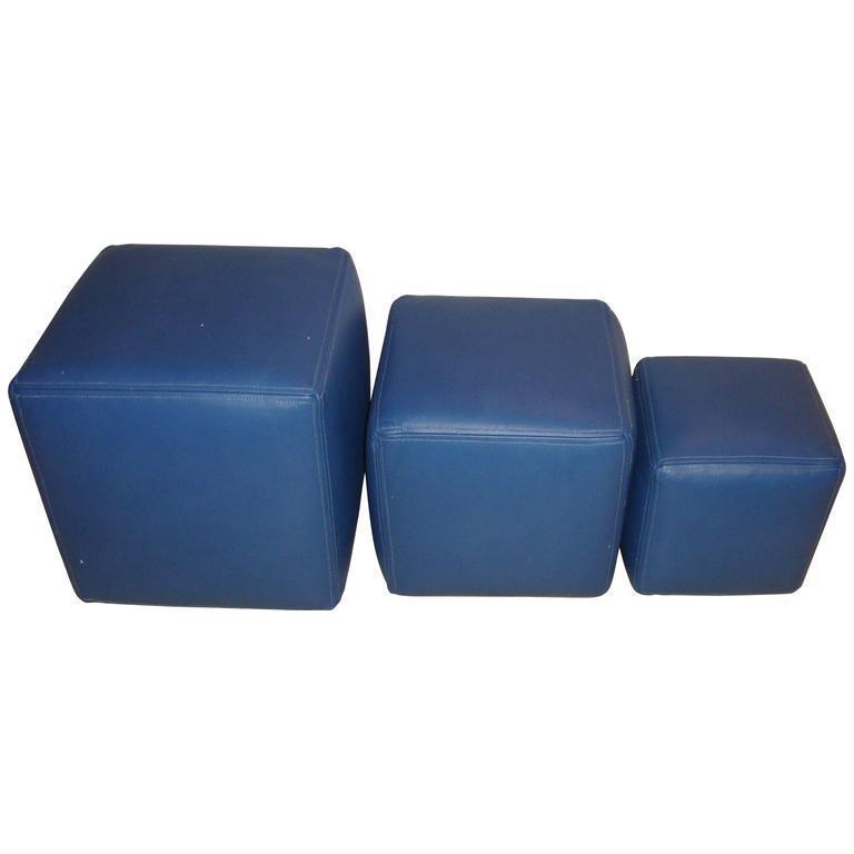 Dakota Jackson Leather Cubes Set Of 3 Chairish